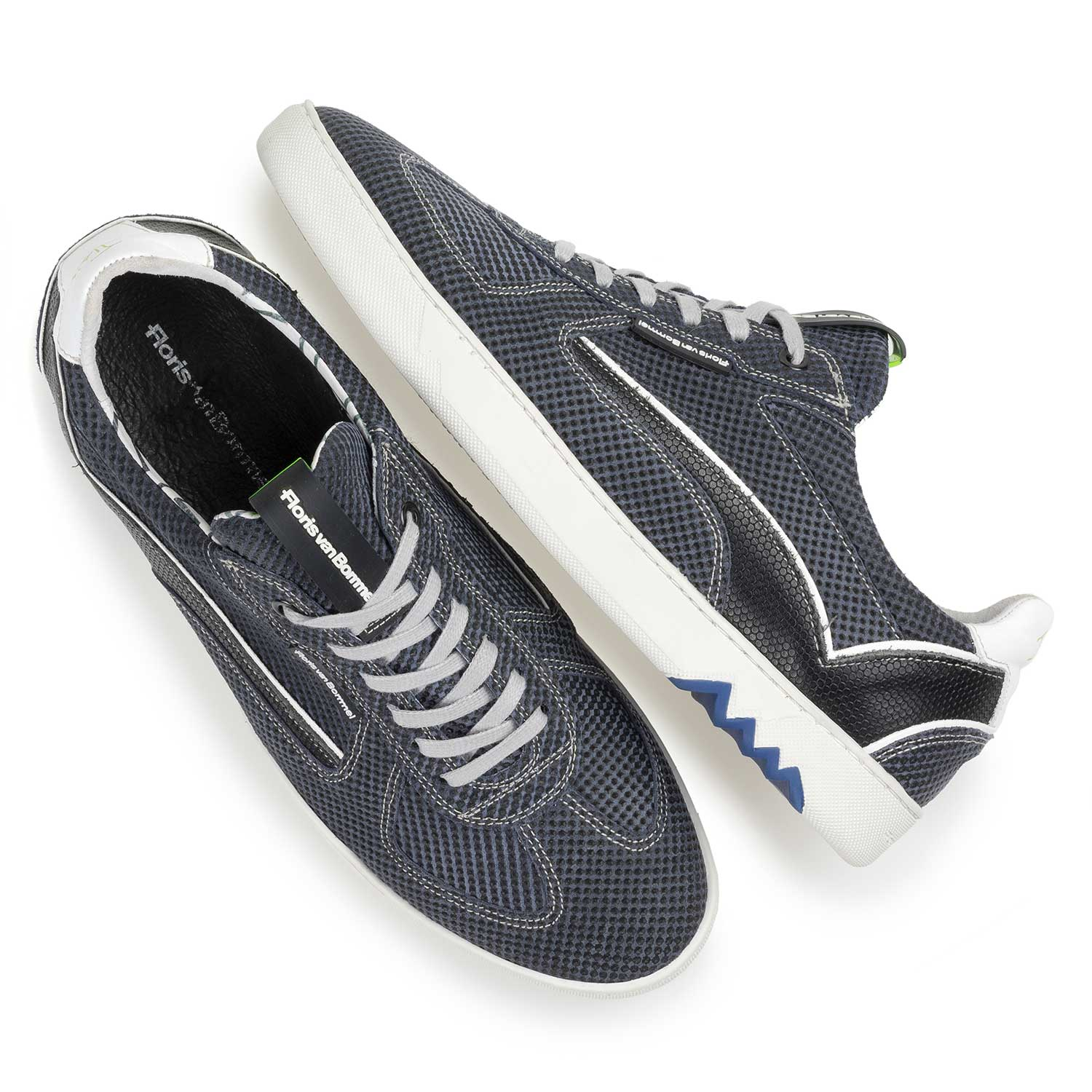 16342/01 - Dark blue suede leather sneaker