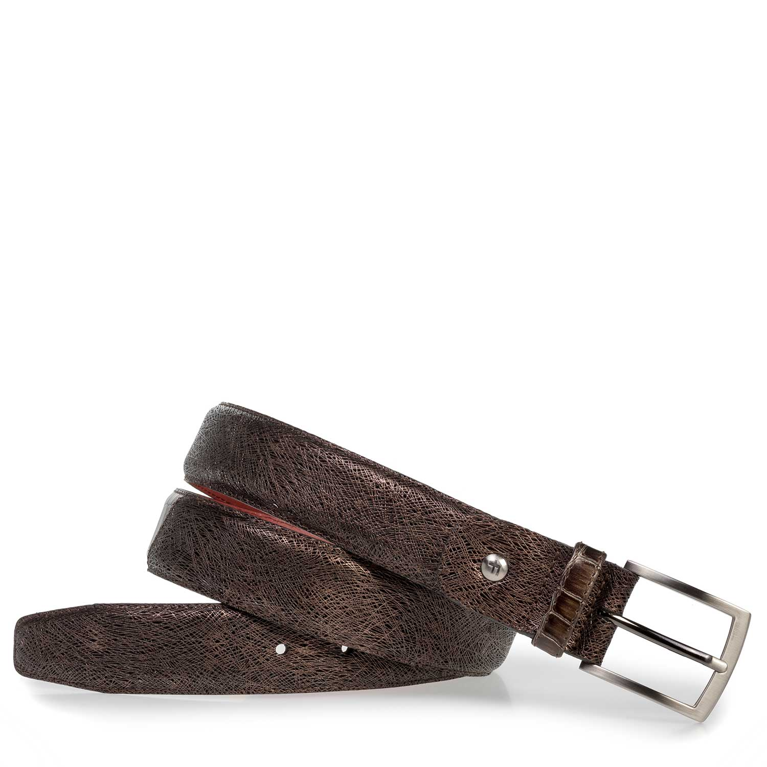 75188/44 - Brown leather belt with metallic print