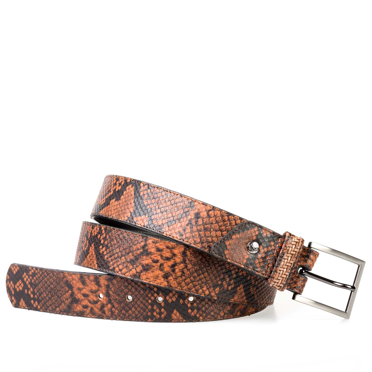 75179/03 - Cognac-coloured leather belt finished with a snake print