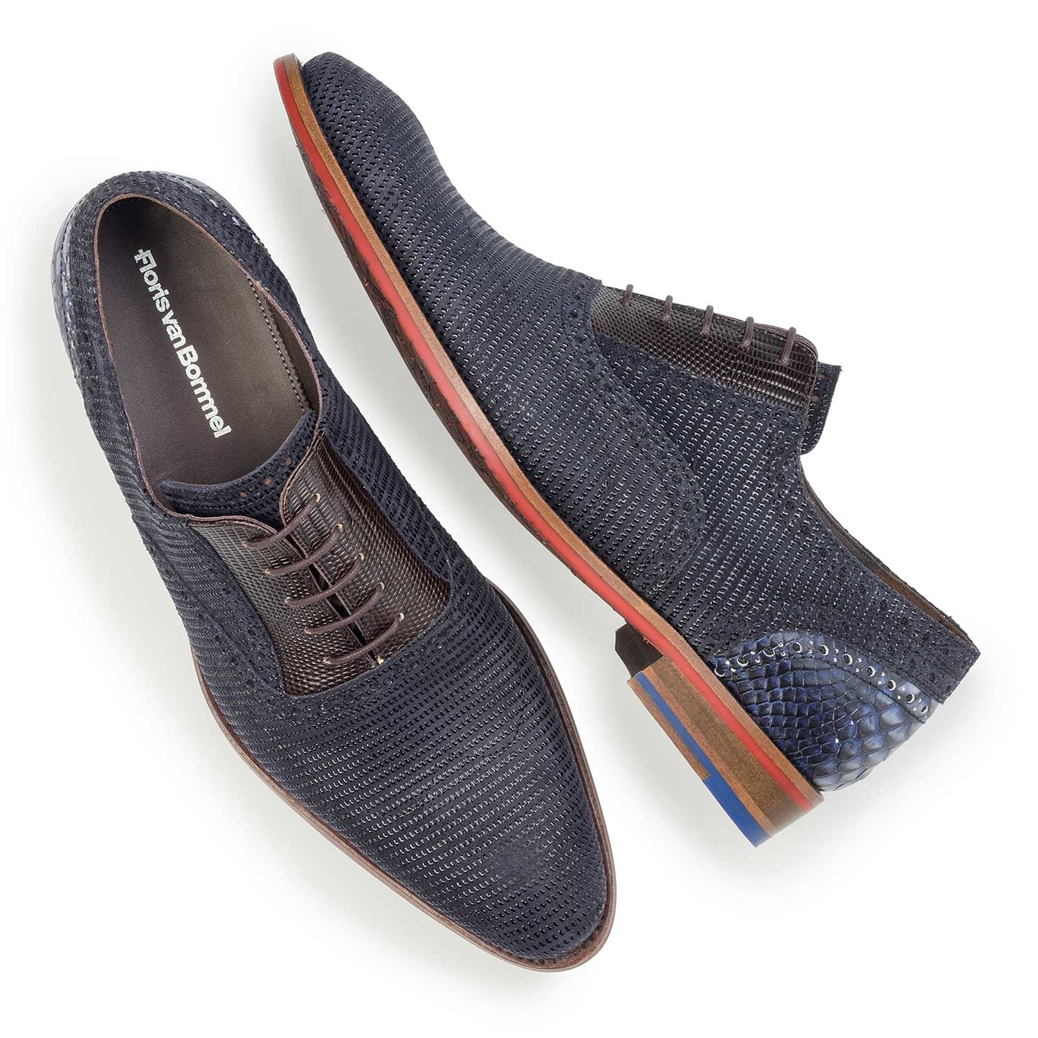19114/09 - Dark blue, patterned suede leather lace shoe