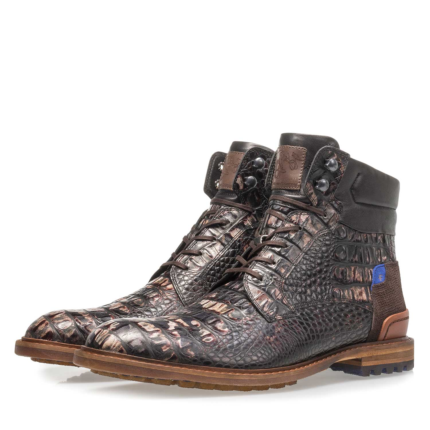 10234/18 - Dark brown leather lace boot with croco print