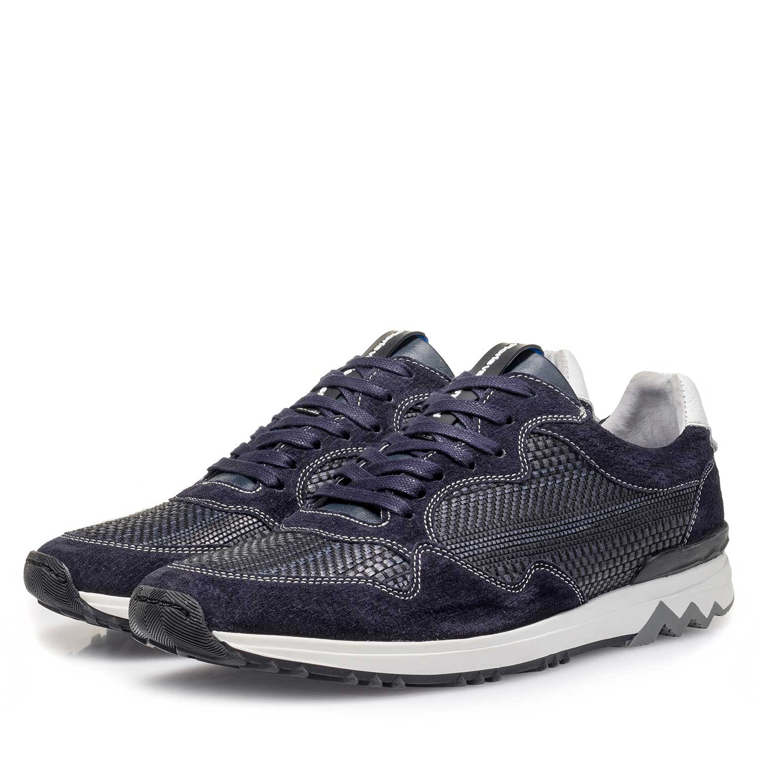 16238/00 - Dark blue suede leather sneaker with a pattern