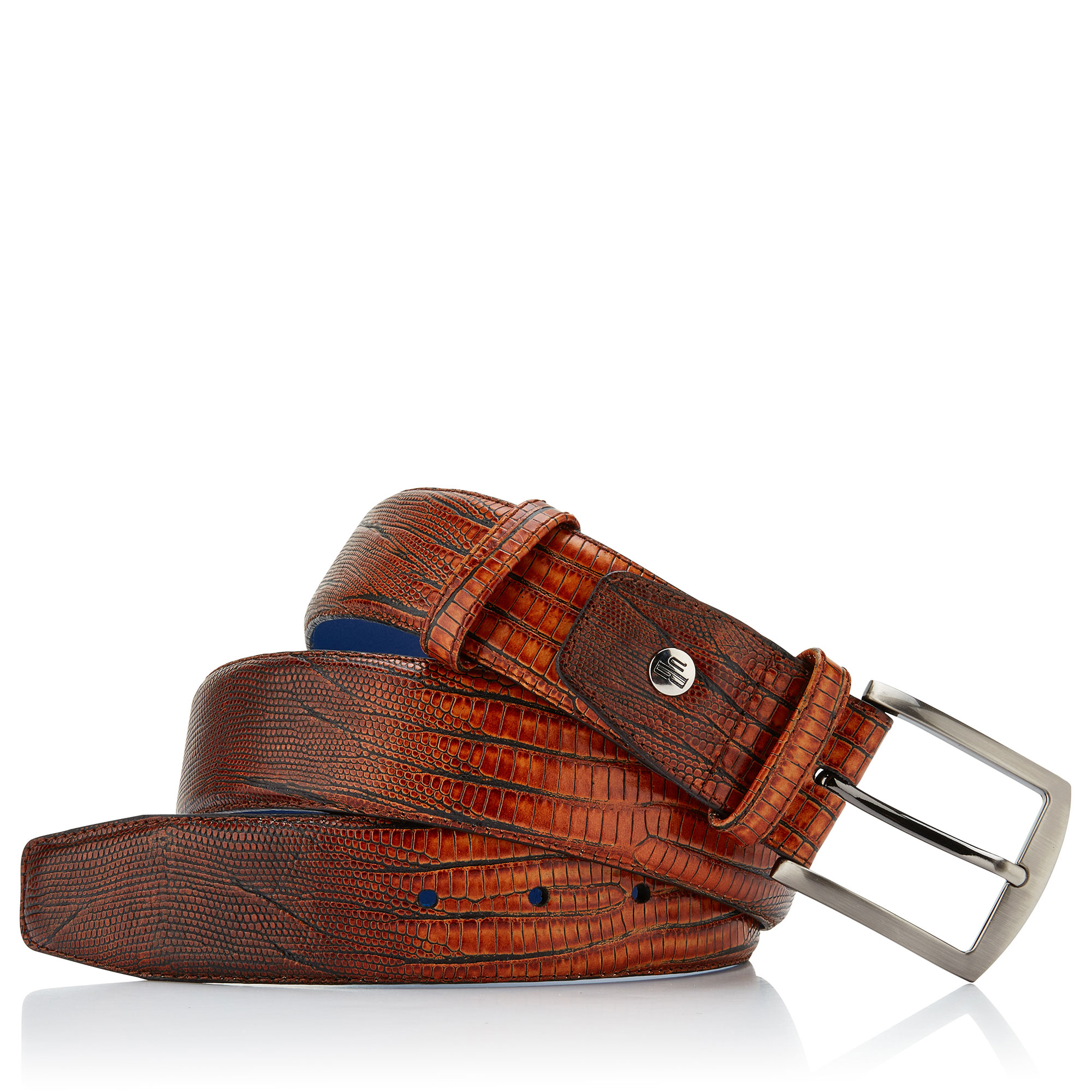 75138/10 - Floris van Bommel cognac lizard print men's belt