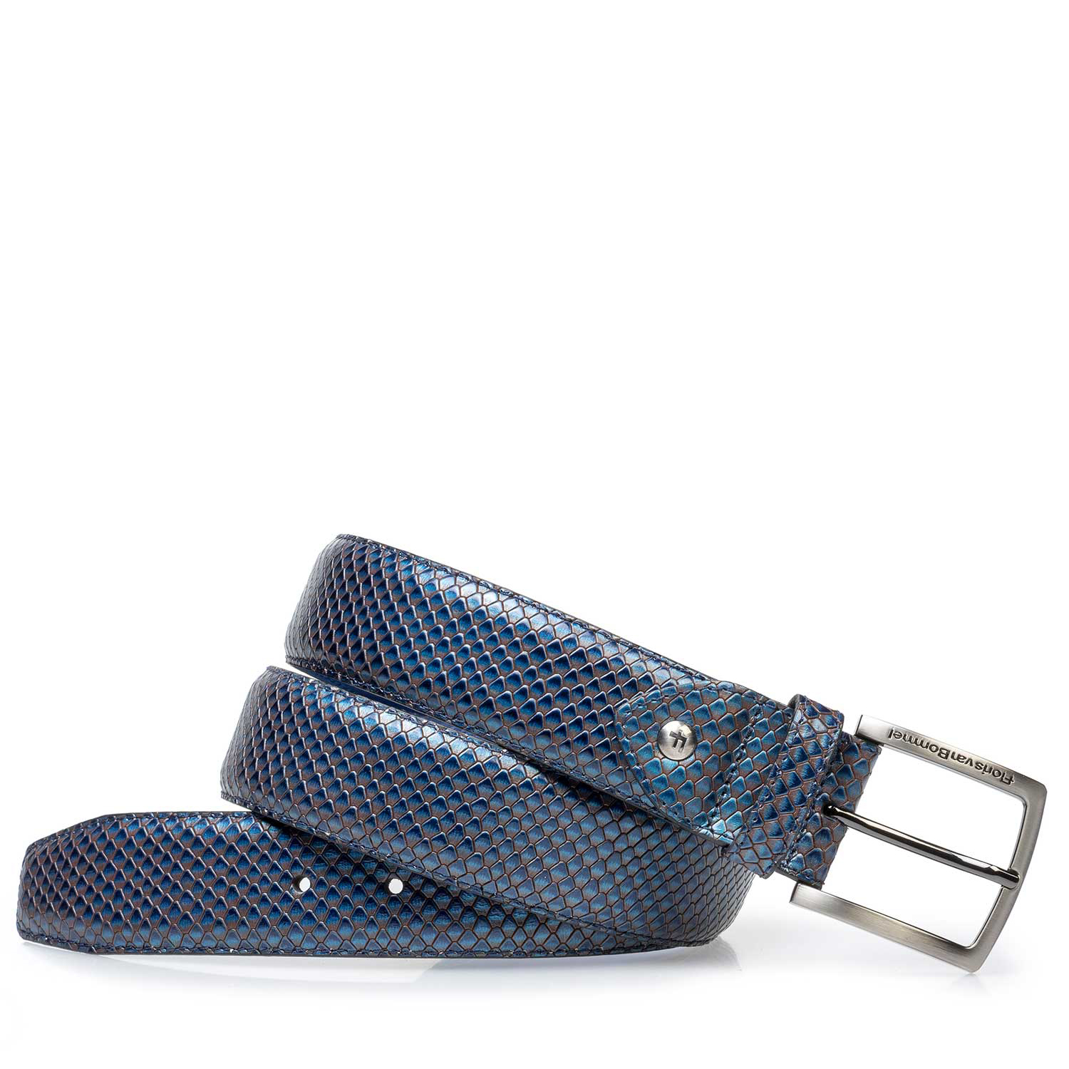 75202/17 - Premium blue printed metallic leather belt