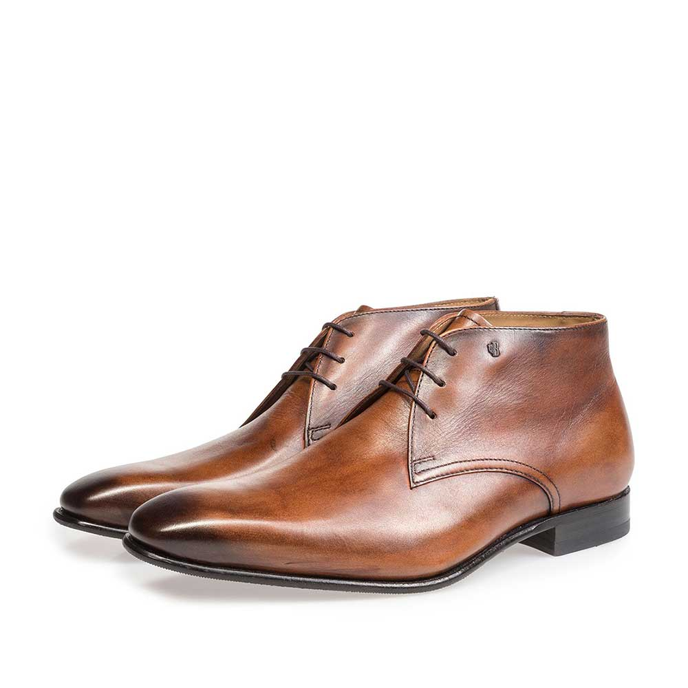 10595/10 - Cognac-coloured calf leather lace shoe
