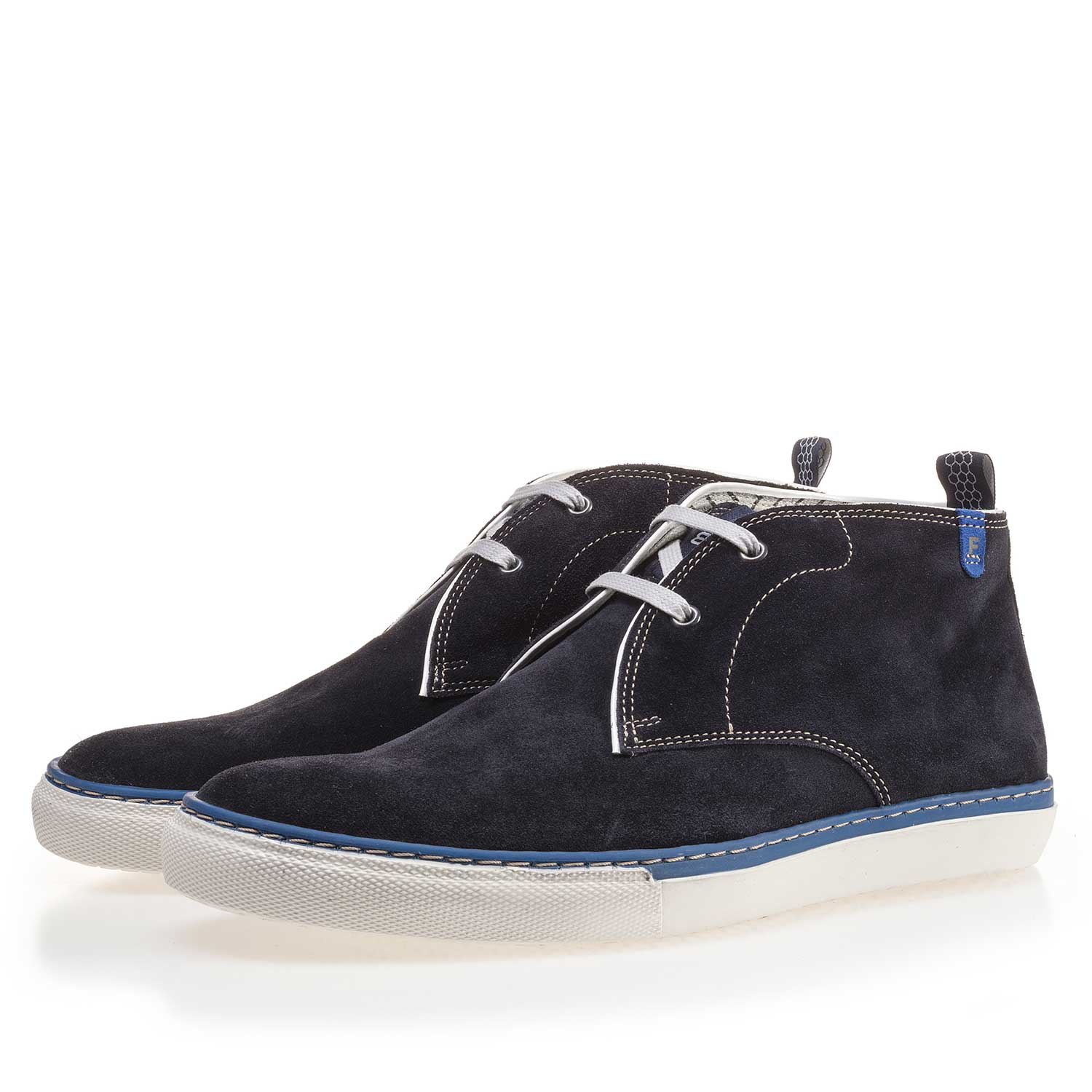 10024/00 - Dark blue suede leather lace boot