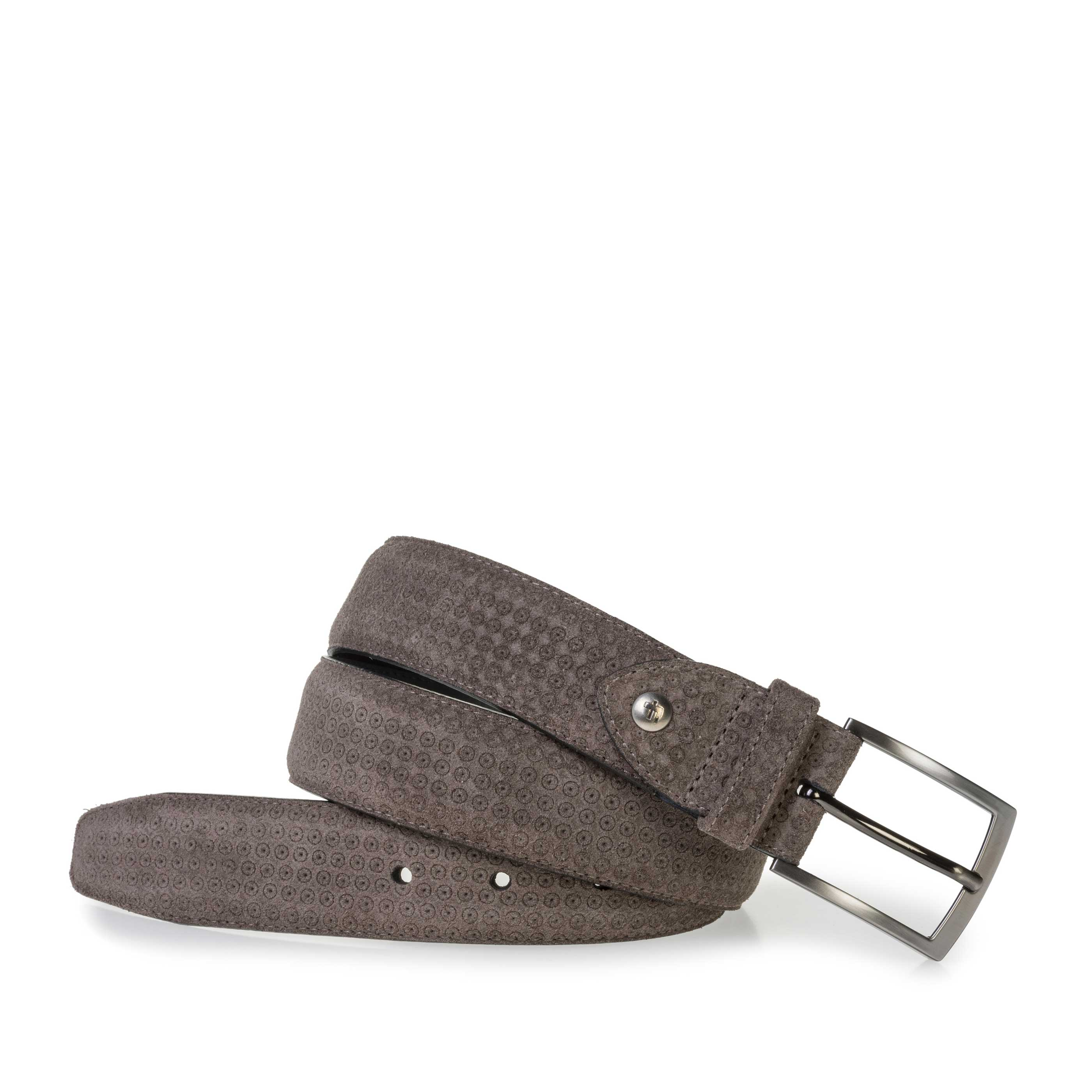 75200/78 - Taupe-coloured suede leather belt with print