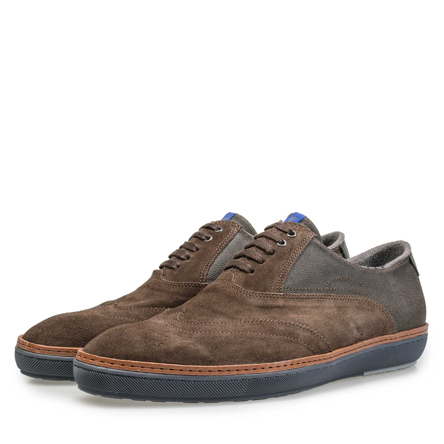 19072/05 - Brown calf's suede leather brogue sneaker