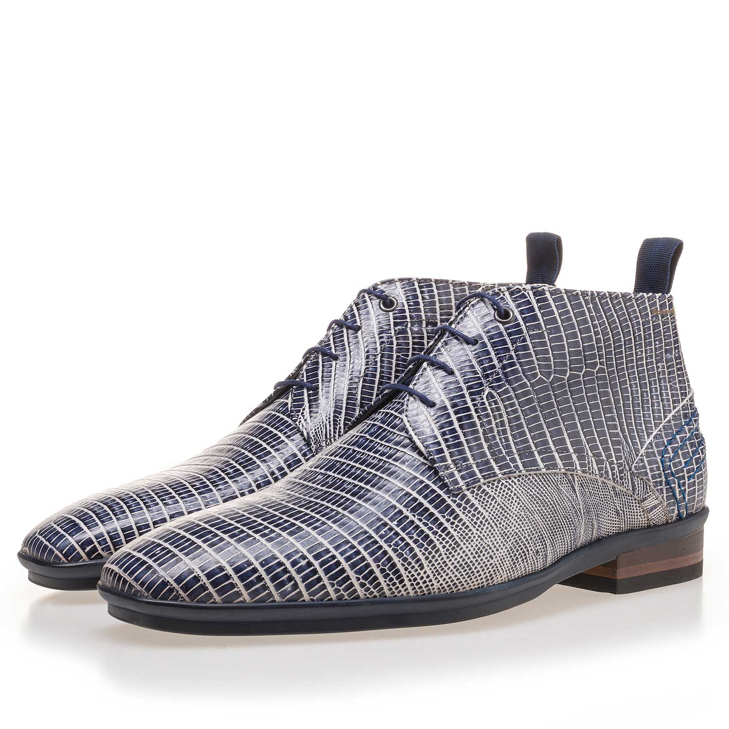 10960/12 - Blue leather lace boot finished with a lizard print