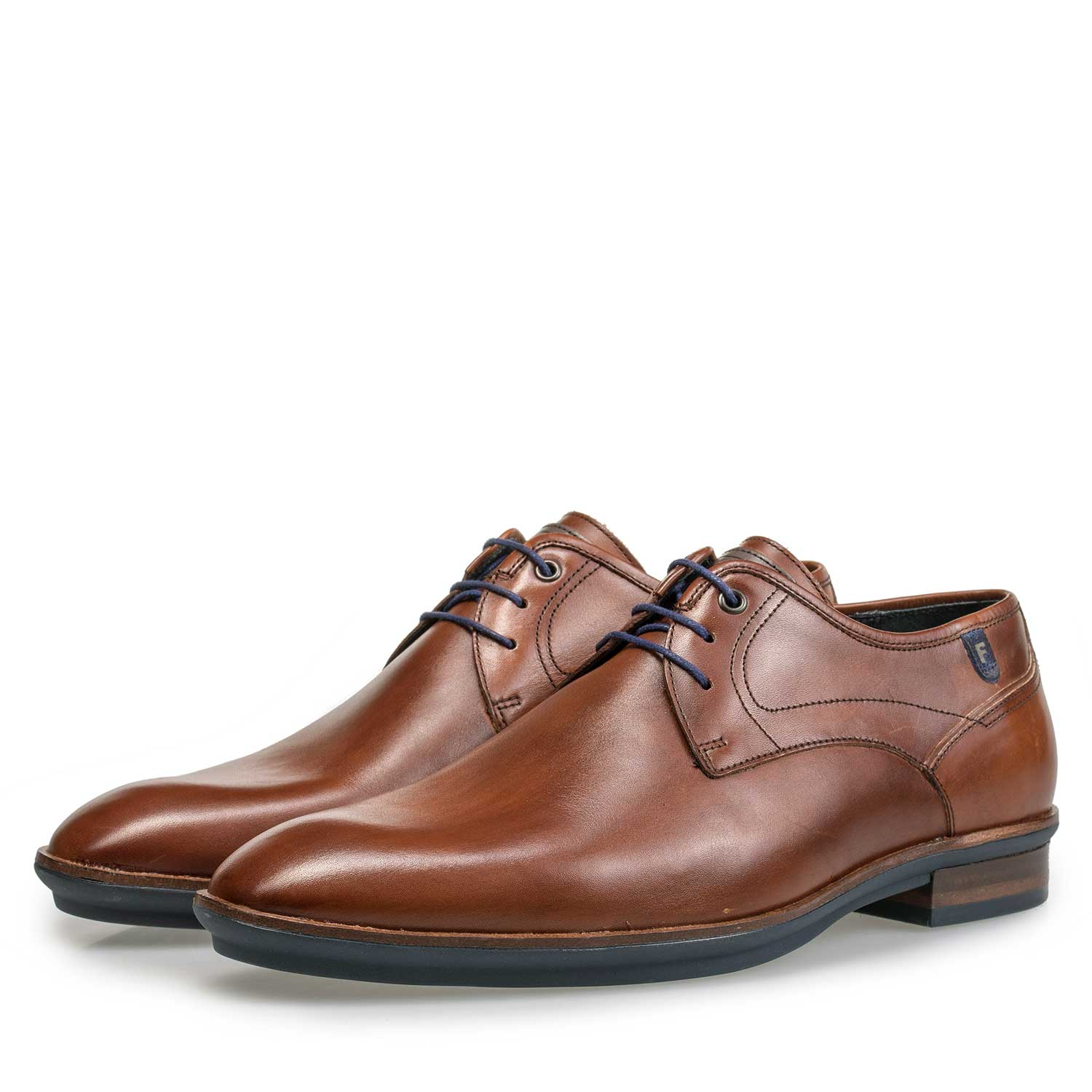 14293/02 - Cognac-coloured calf's leather lace shoe