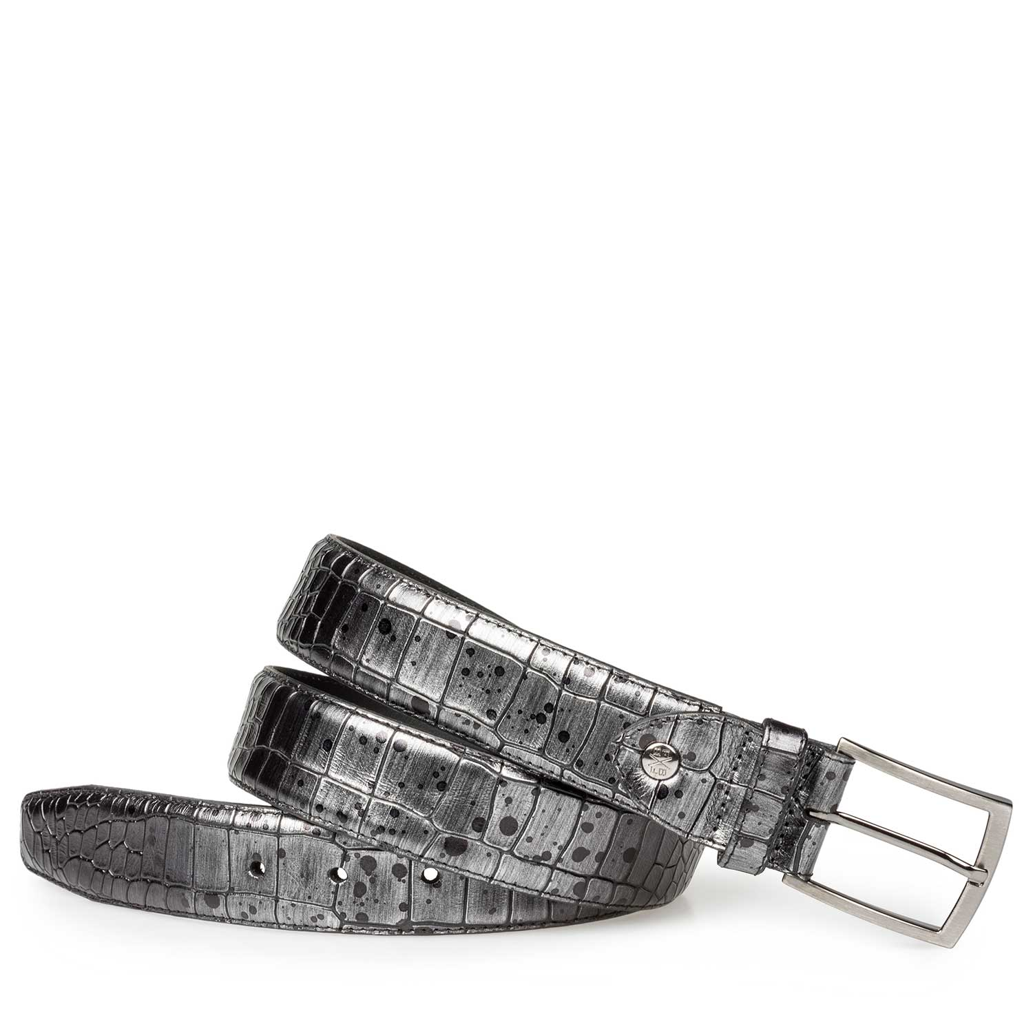 75190/10 - Grey leather belt with croco print