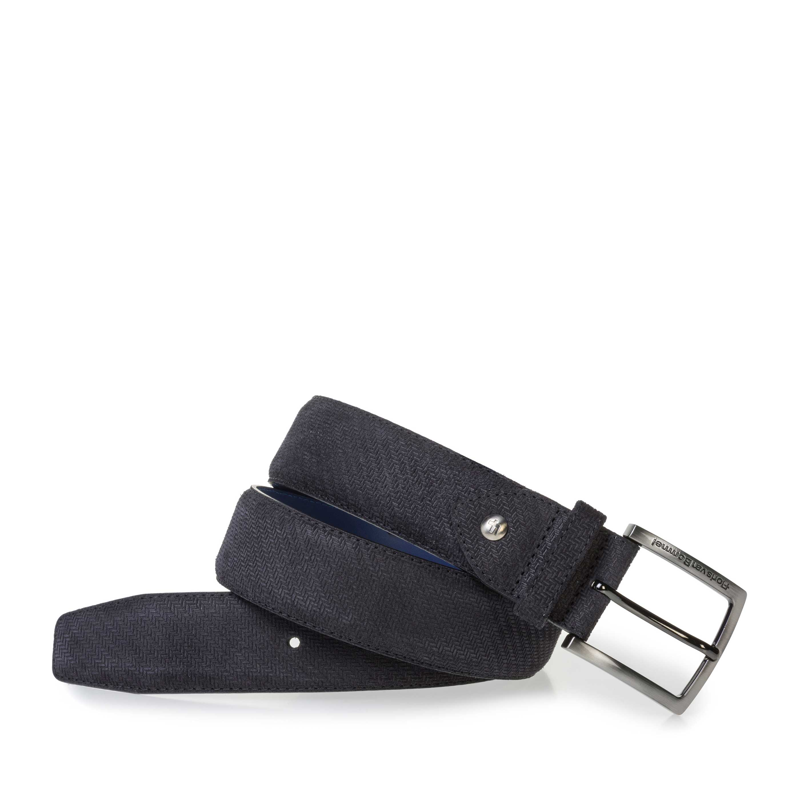 75202/46 - Black suede leather belt with print