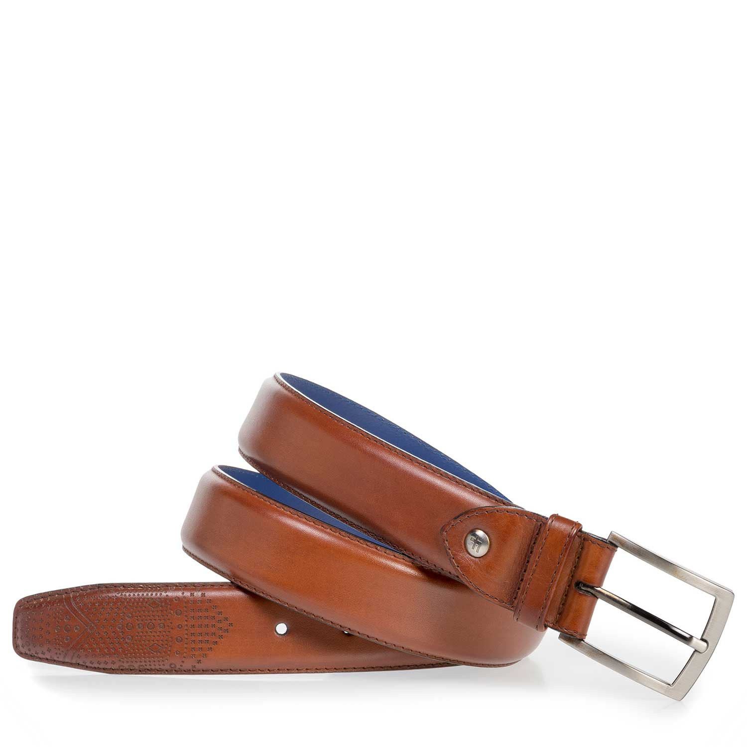 75210/00 - Dark cognac-coloured calf leather belt