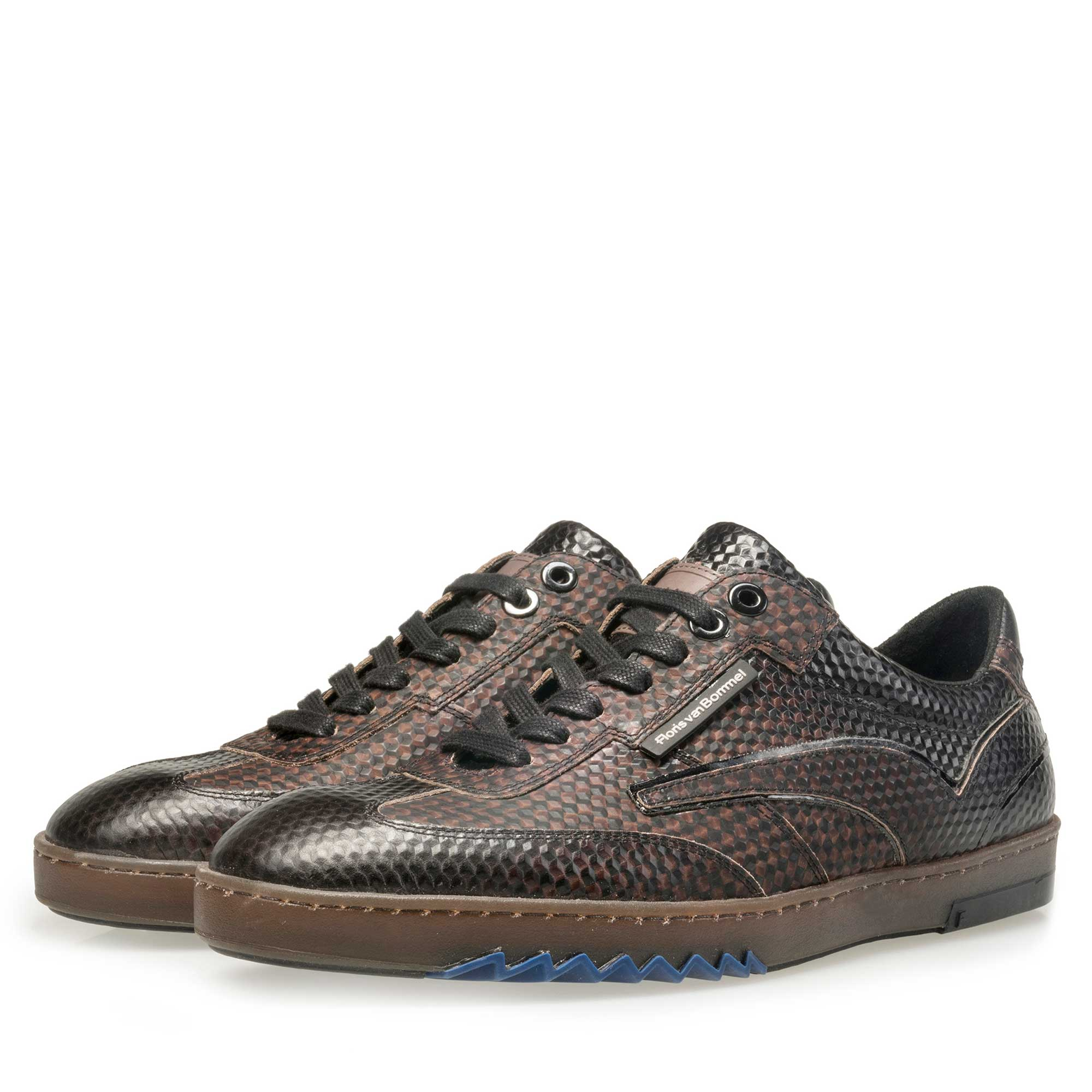 16074/24 - Floris van Bommel men's dark brown sneaker finished with a black print