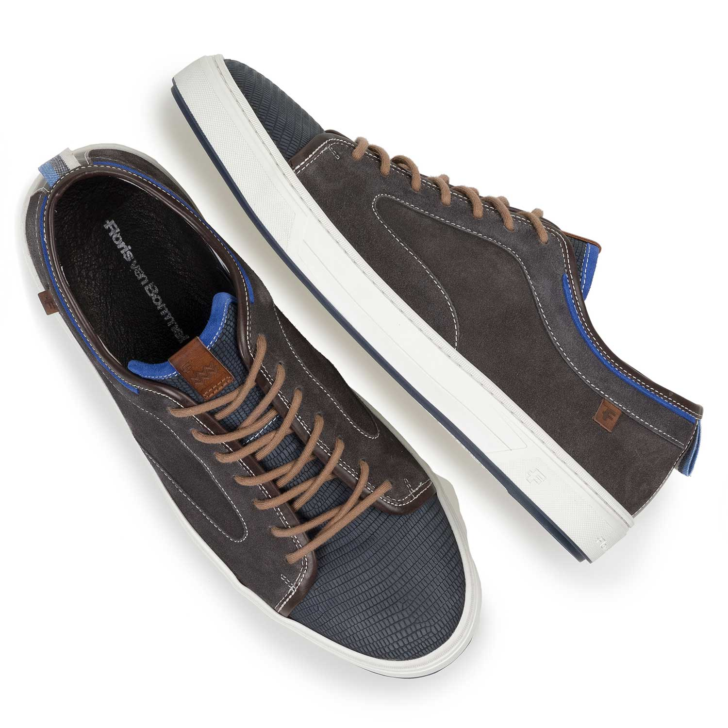 13466/08 - Dark grey & blue lizard print suede leather sneaker
