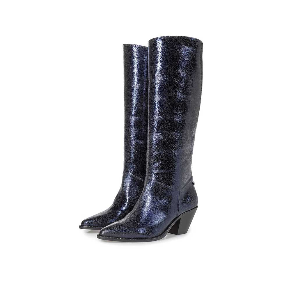 85714/02 - Dark blue leather high boots with metallic print