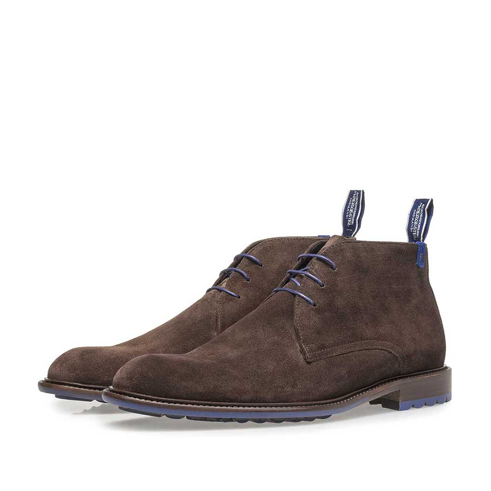 10203/17 - Dark brown calf suede lace shoe