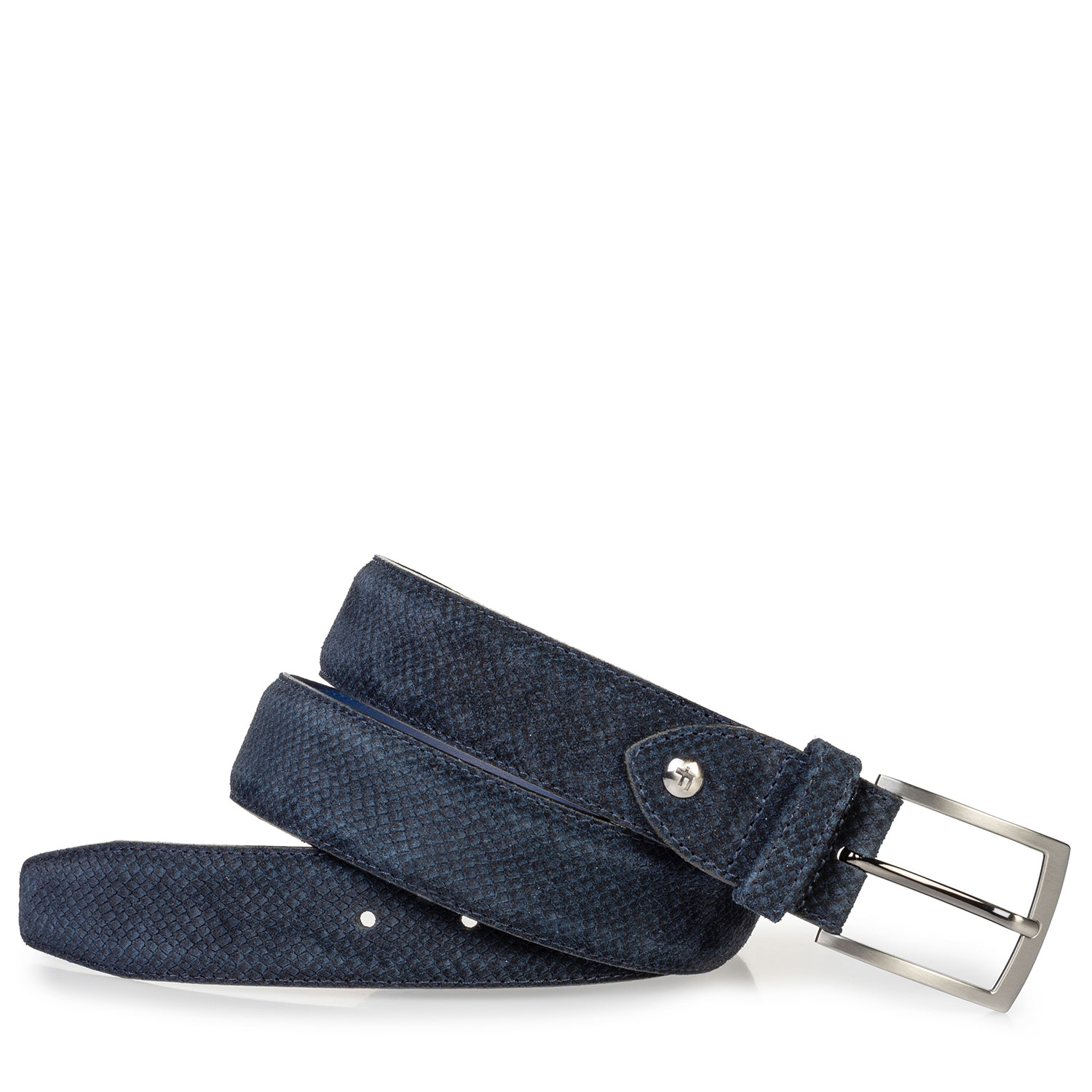 75203/19 - Suede leather belt dark blue with print