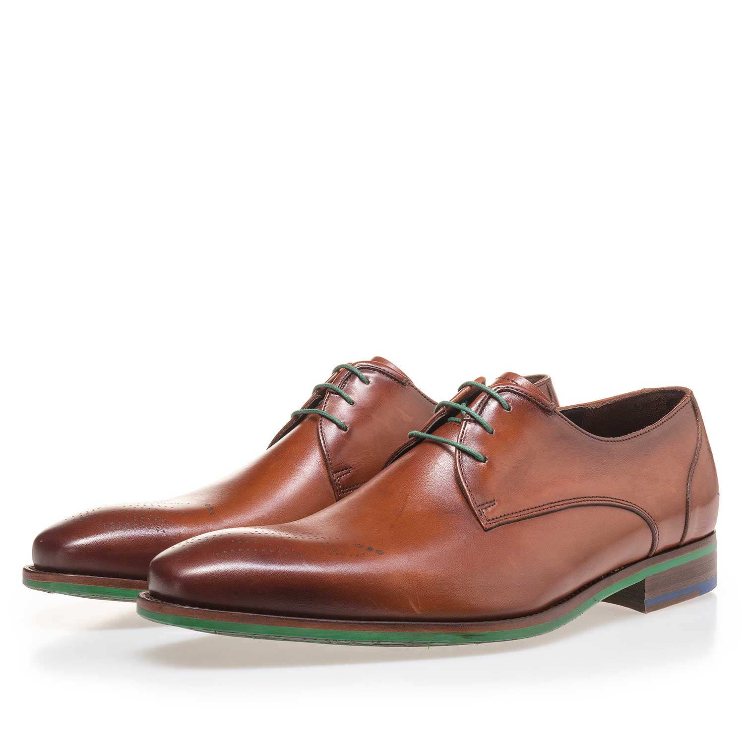 14193/02 - Dark cognac-coloured leather lace shoe