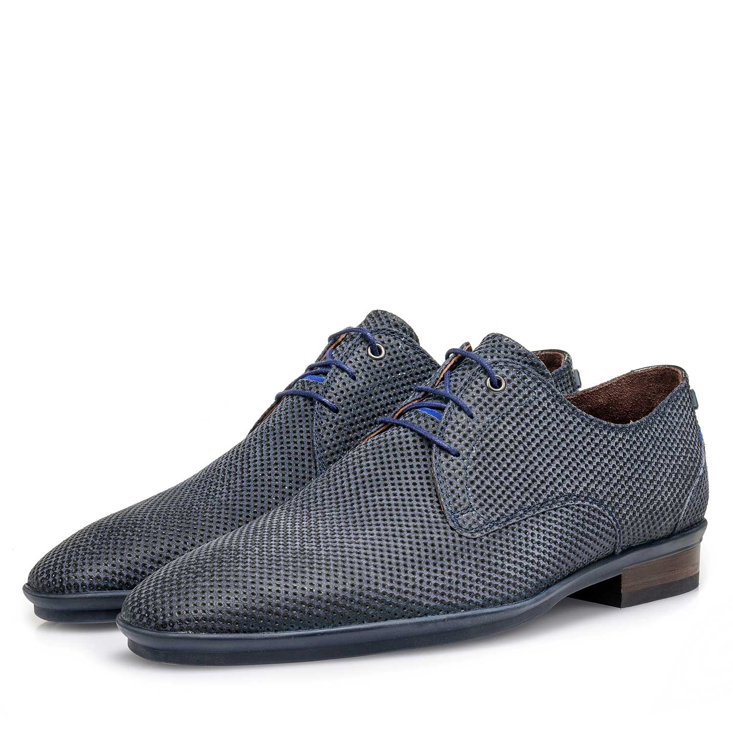 18120/10 - Dark blue suede leather lace shoe with a print