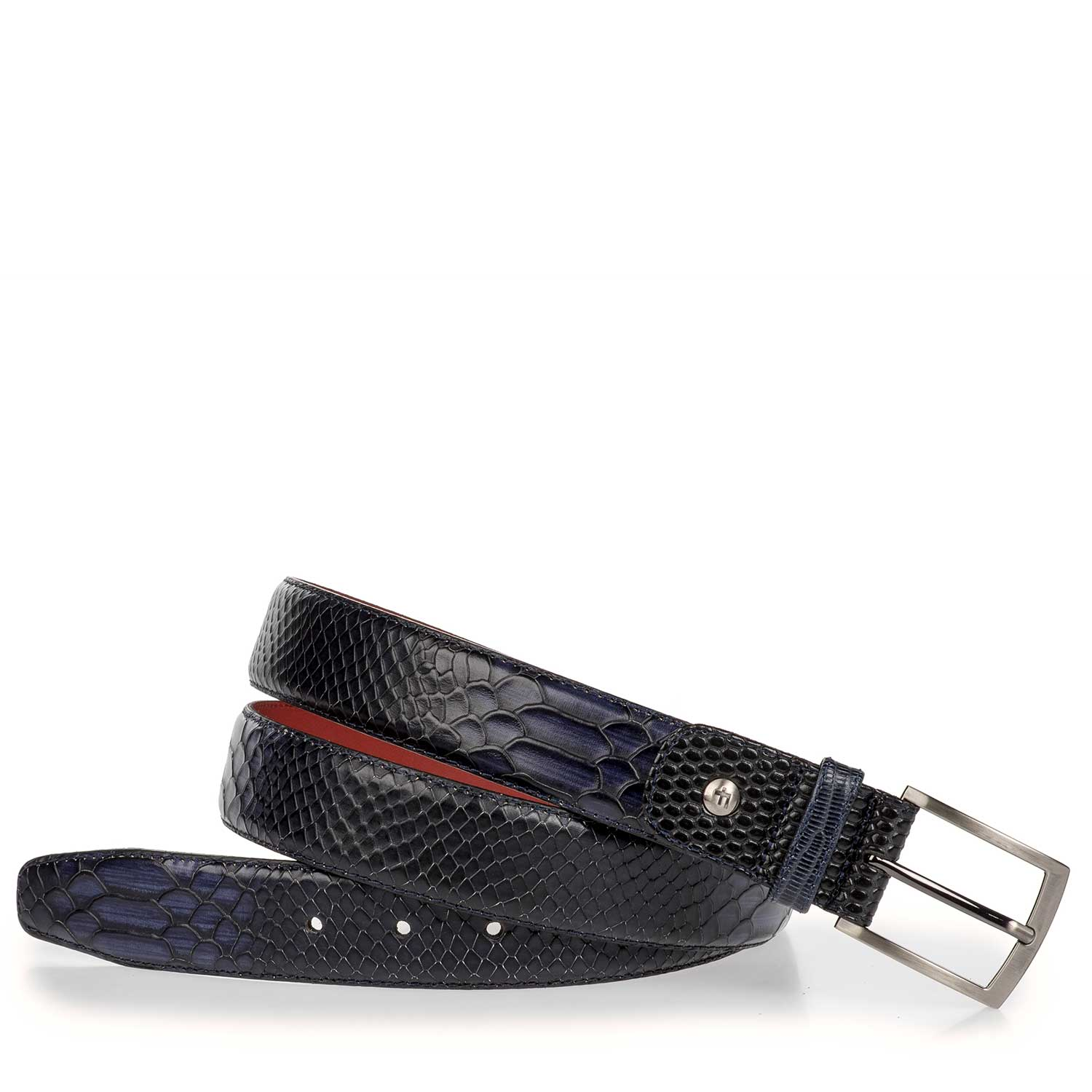75188/12 - Blue leather belt with snake print
