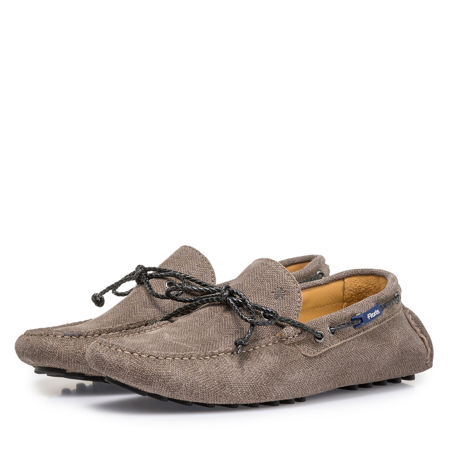 15214/09 - Sand-coloured suede leather moccasin with print