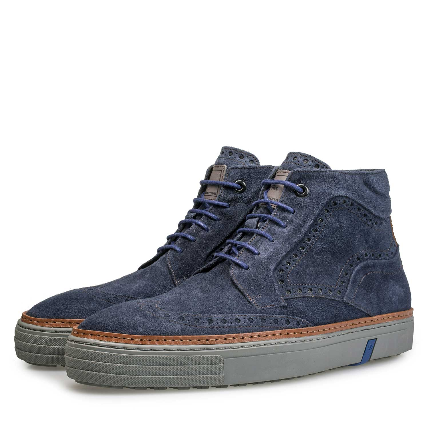 10080/01 - Blue suede leather brogue sneaker