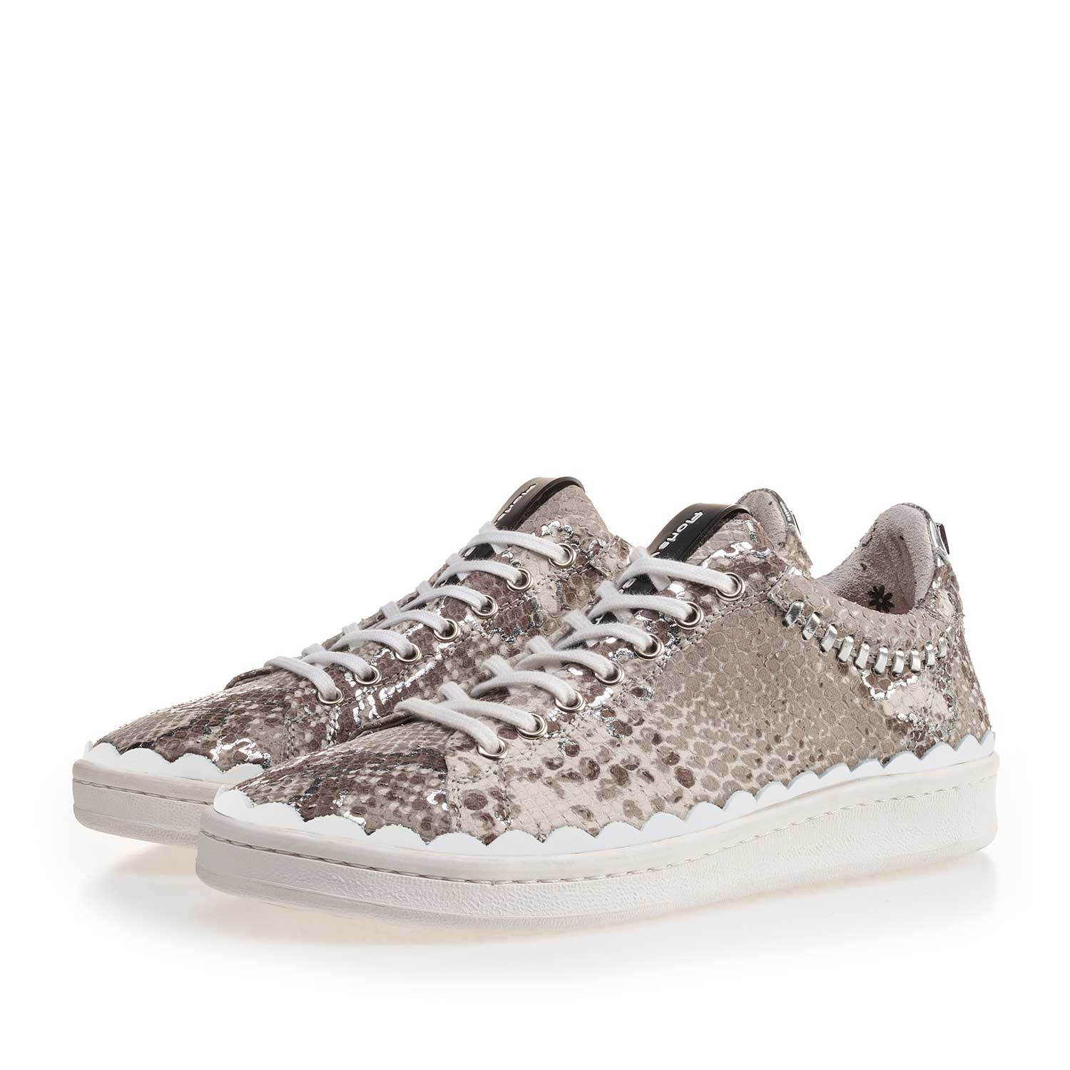 85233/02 - Taupe-coloured snake print leather sneaker