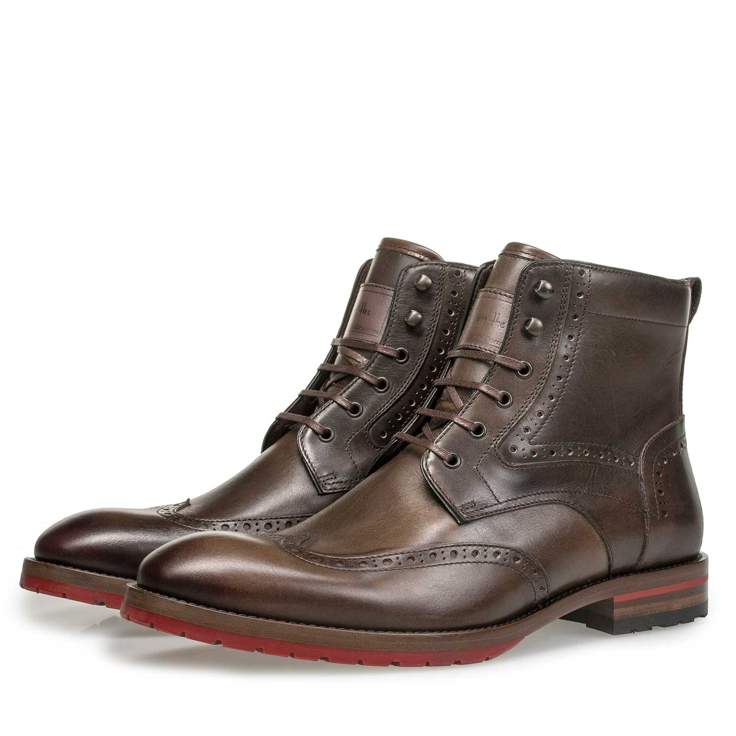 10295/08 - Dark brown calf leather brogue lace boot