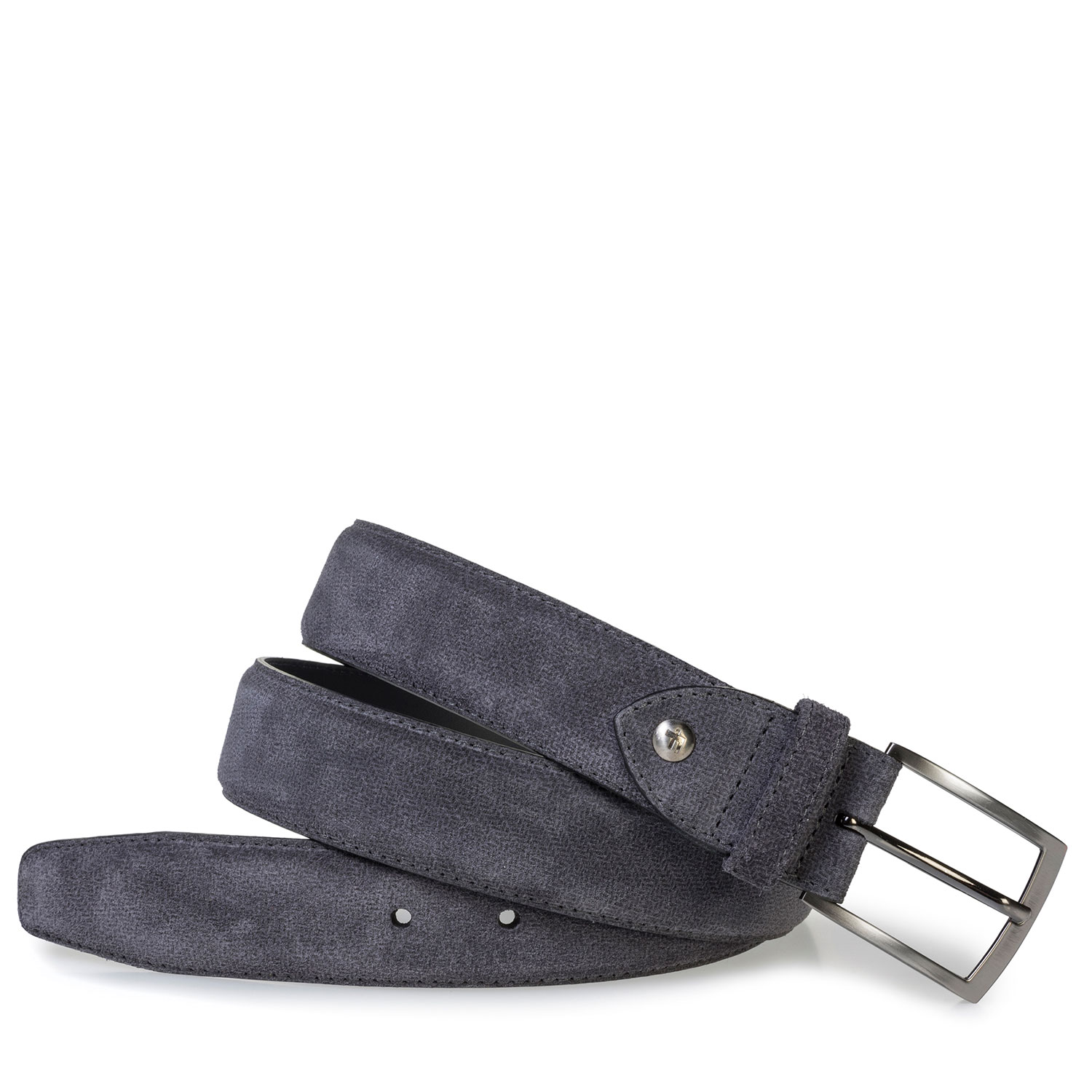 75201/71 - Dark grey suede leather belt with print