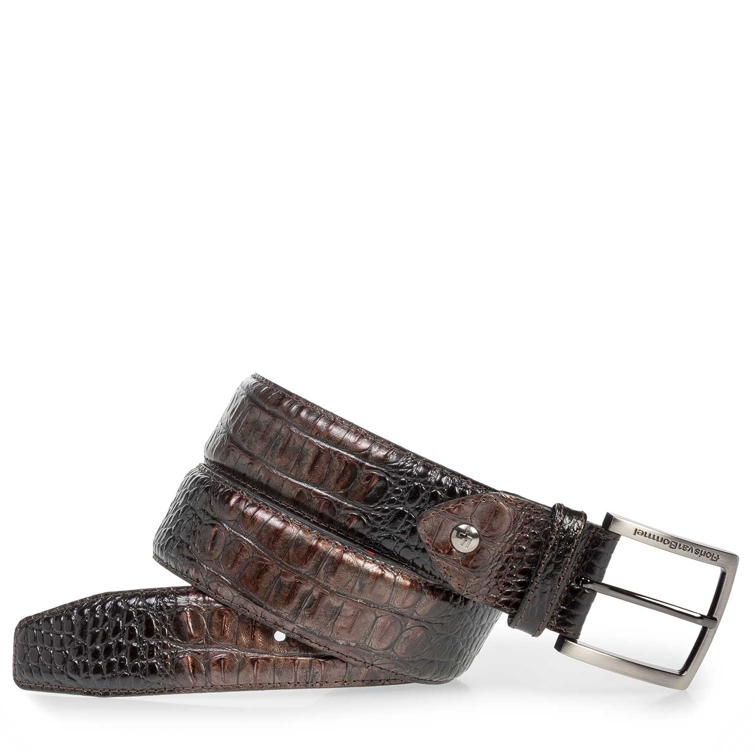 75202/02 - Leather belt with bronze-coloured croco print
