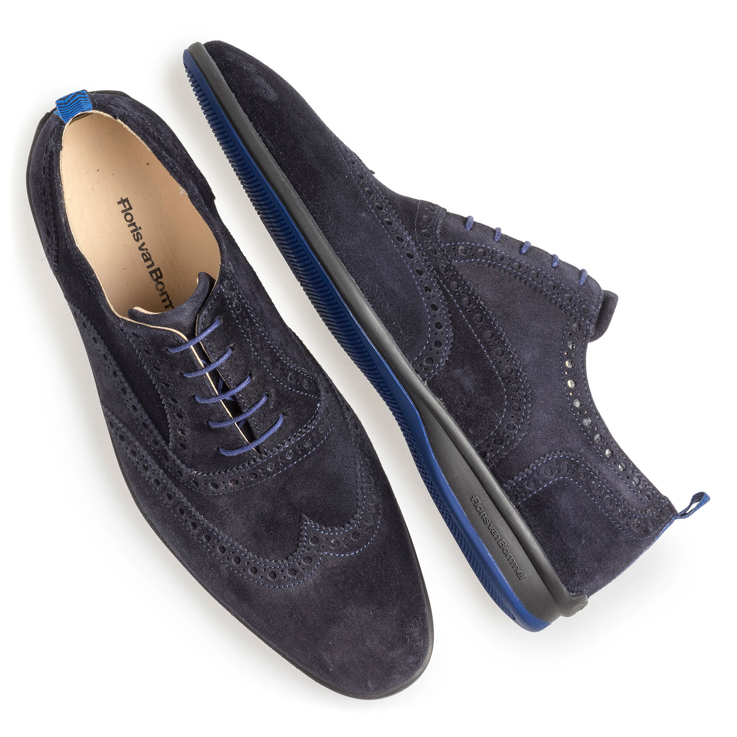 16360/00 - Dark blue suede leather lace shoe