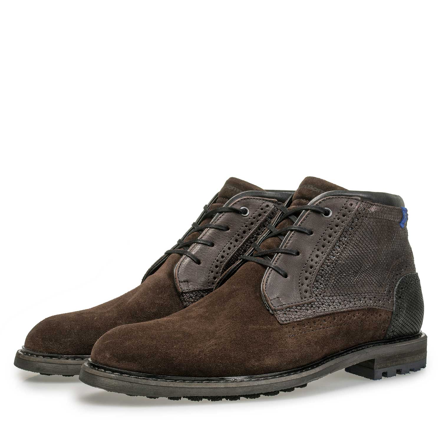 10978/13 - Brown suede leather lace boot