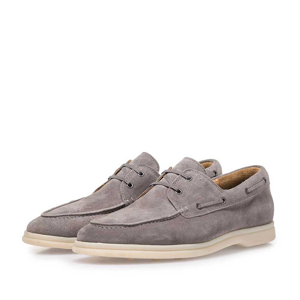18205/01 - Grey suede leather boat shoe