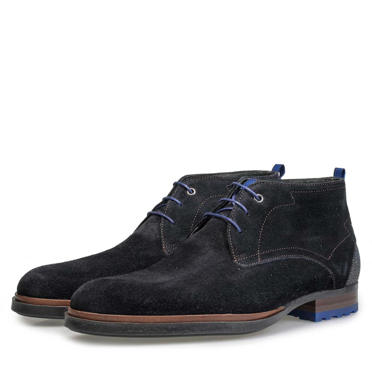 10947/10 - Dark blue suede leather lace boot