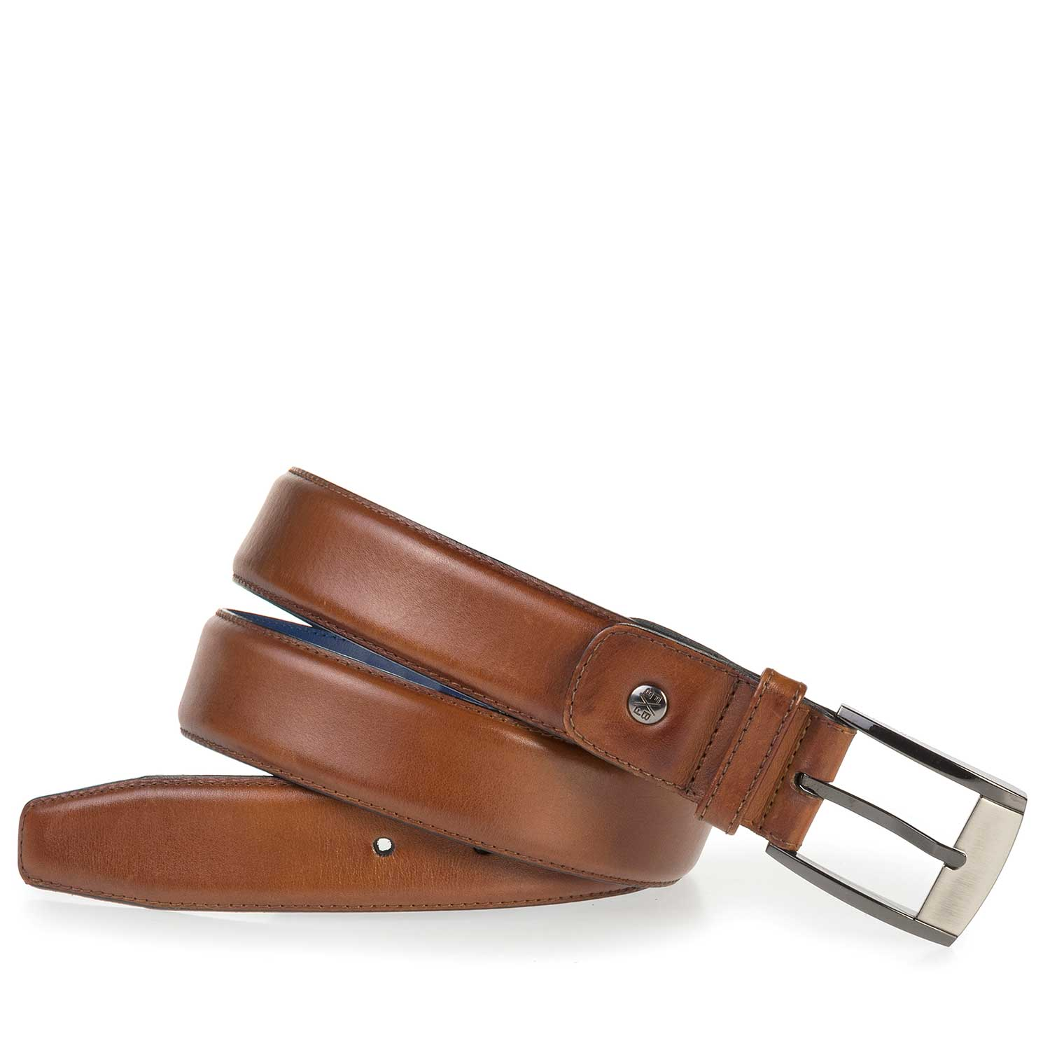 75183/09 - Cognac-colored calf leather belt