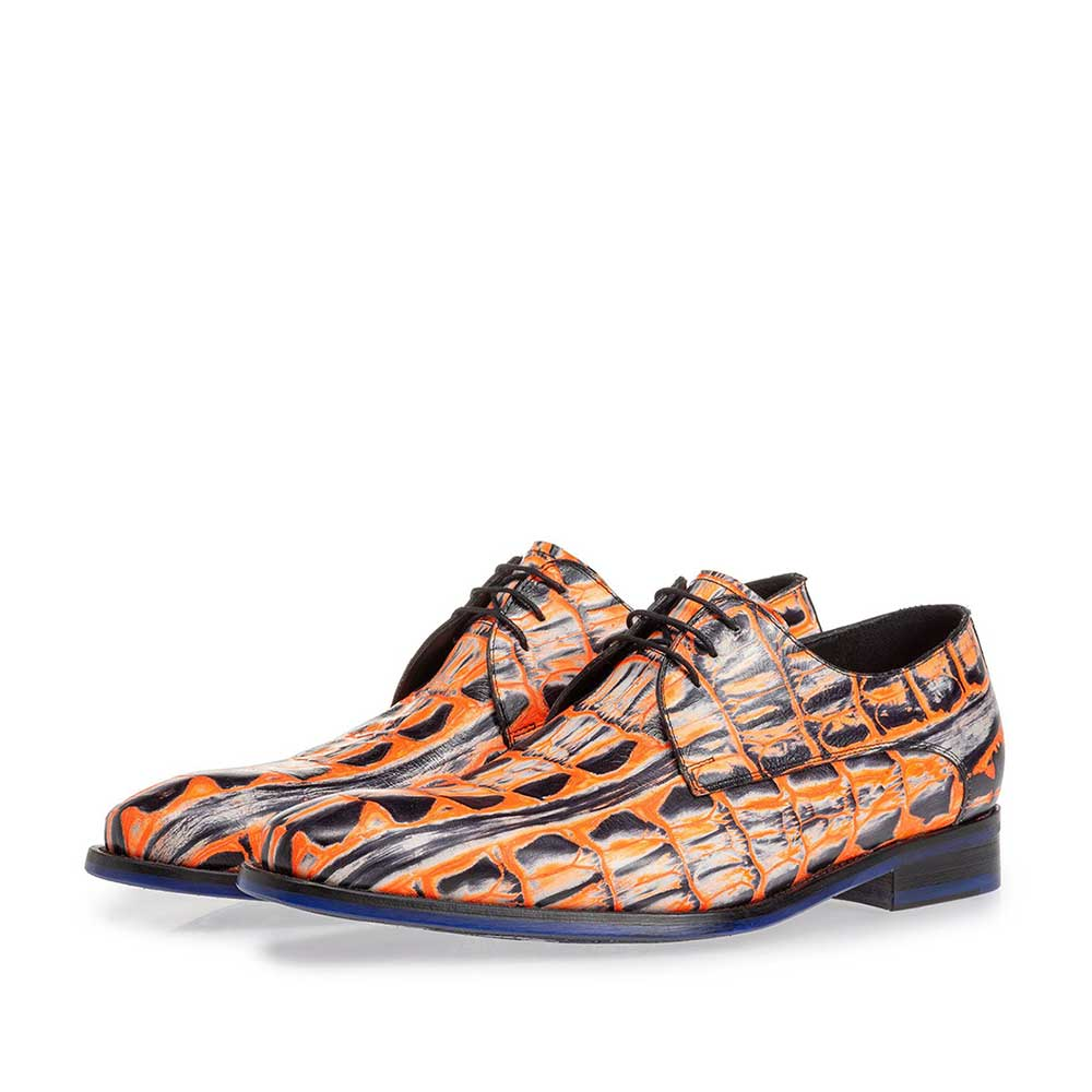 18204/04 - Lace shoe orange croco print