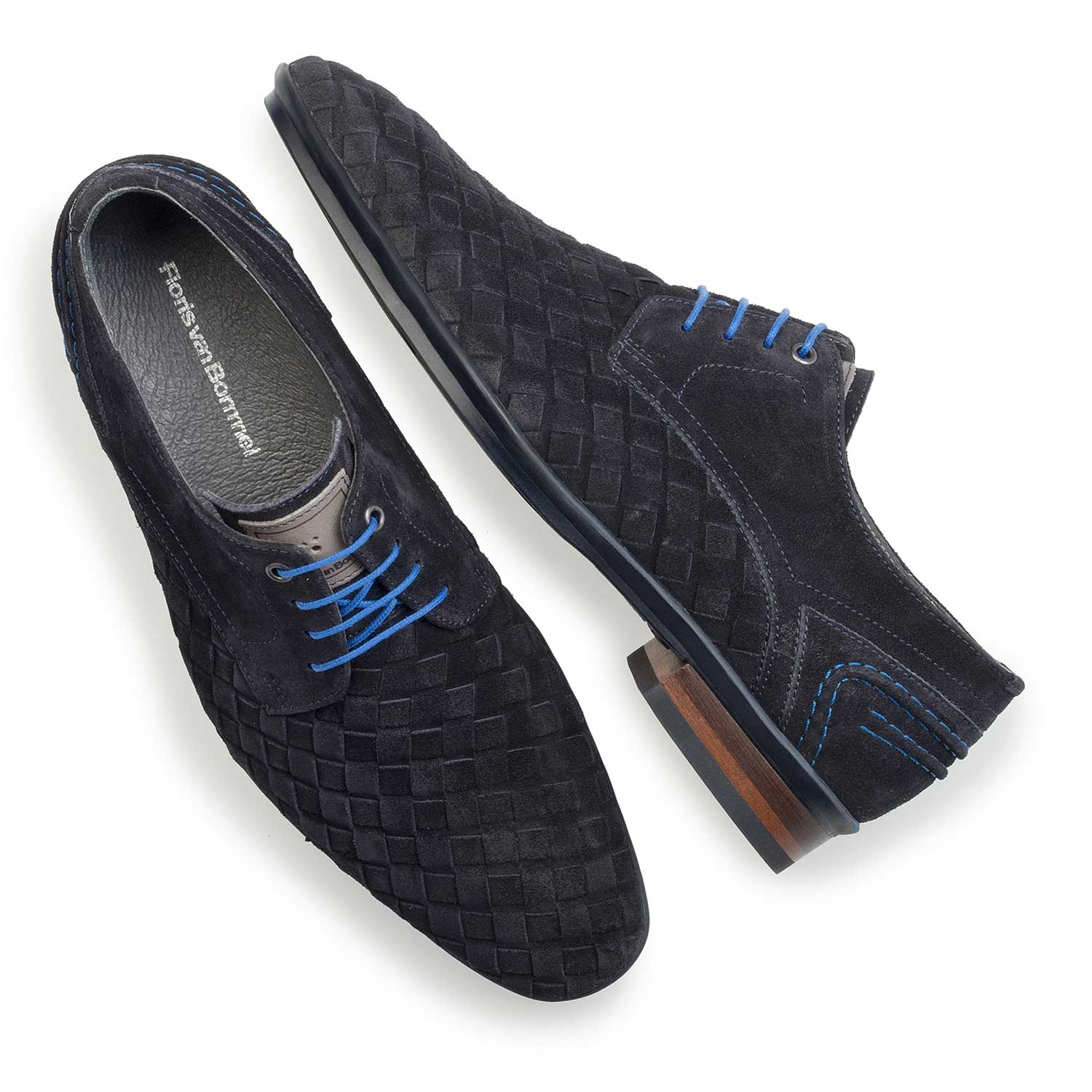 14058/00 - Dark blue braided leather lace shoe