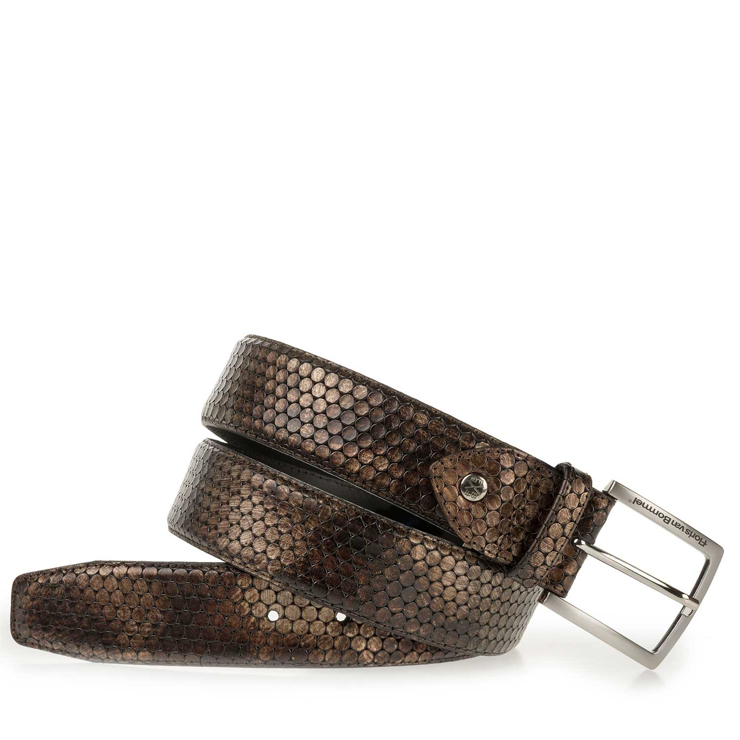 75189/40 - Brown leather belt with metallic print