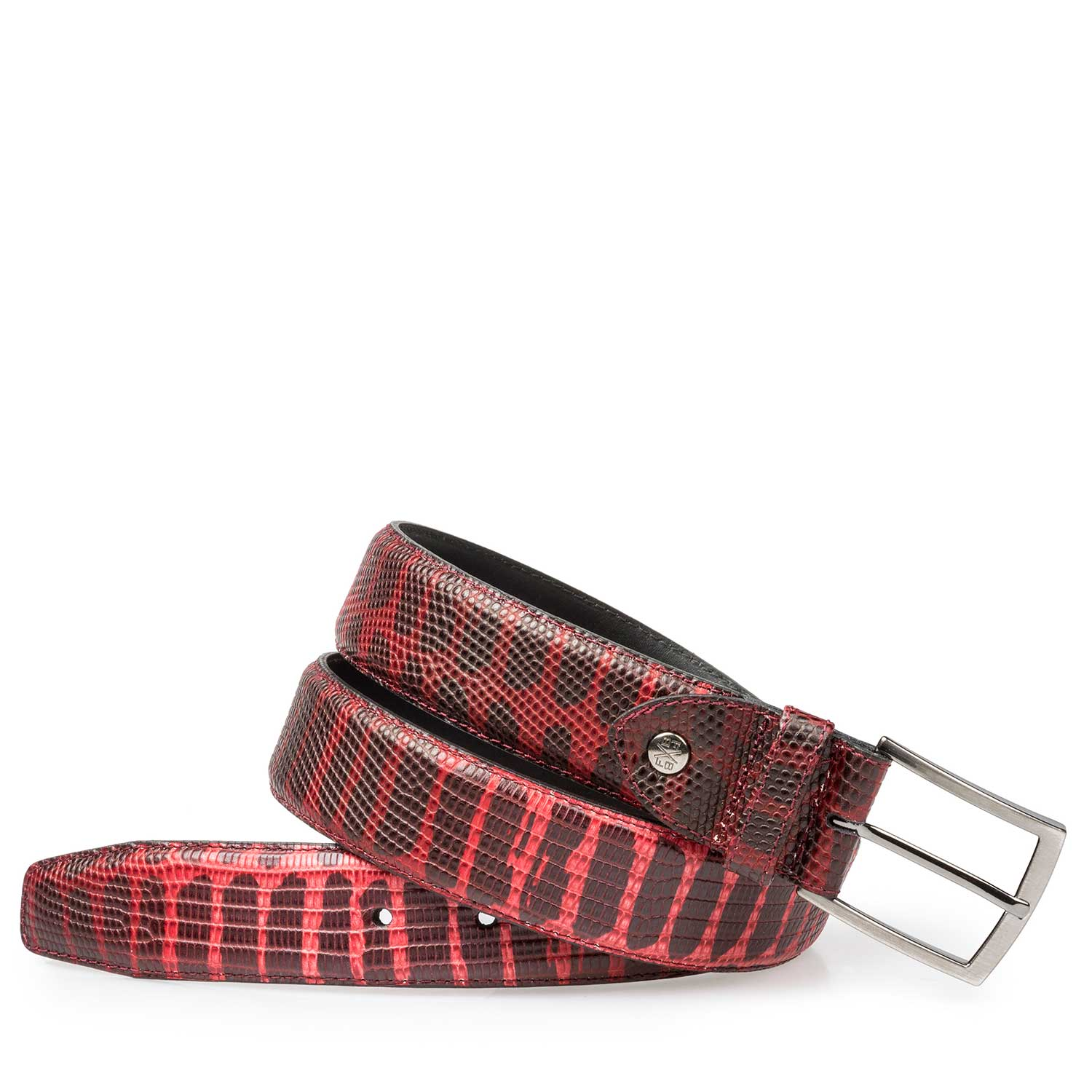 75190/31 - Red calf's leather belt with lizard print