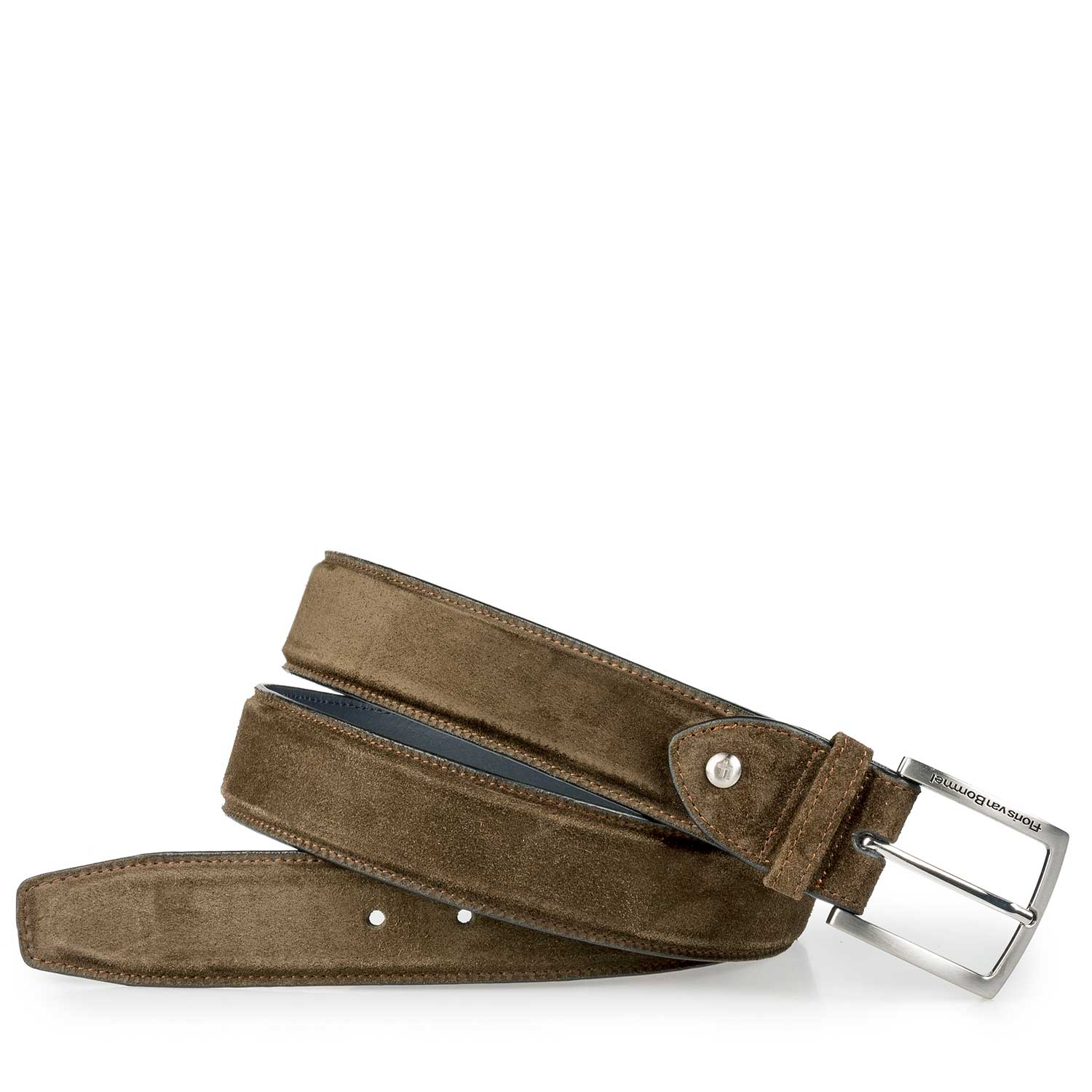 75189/09 - Olive green calf suede leather belt