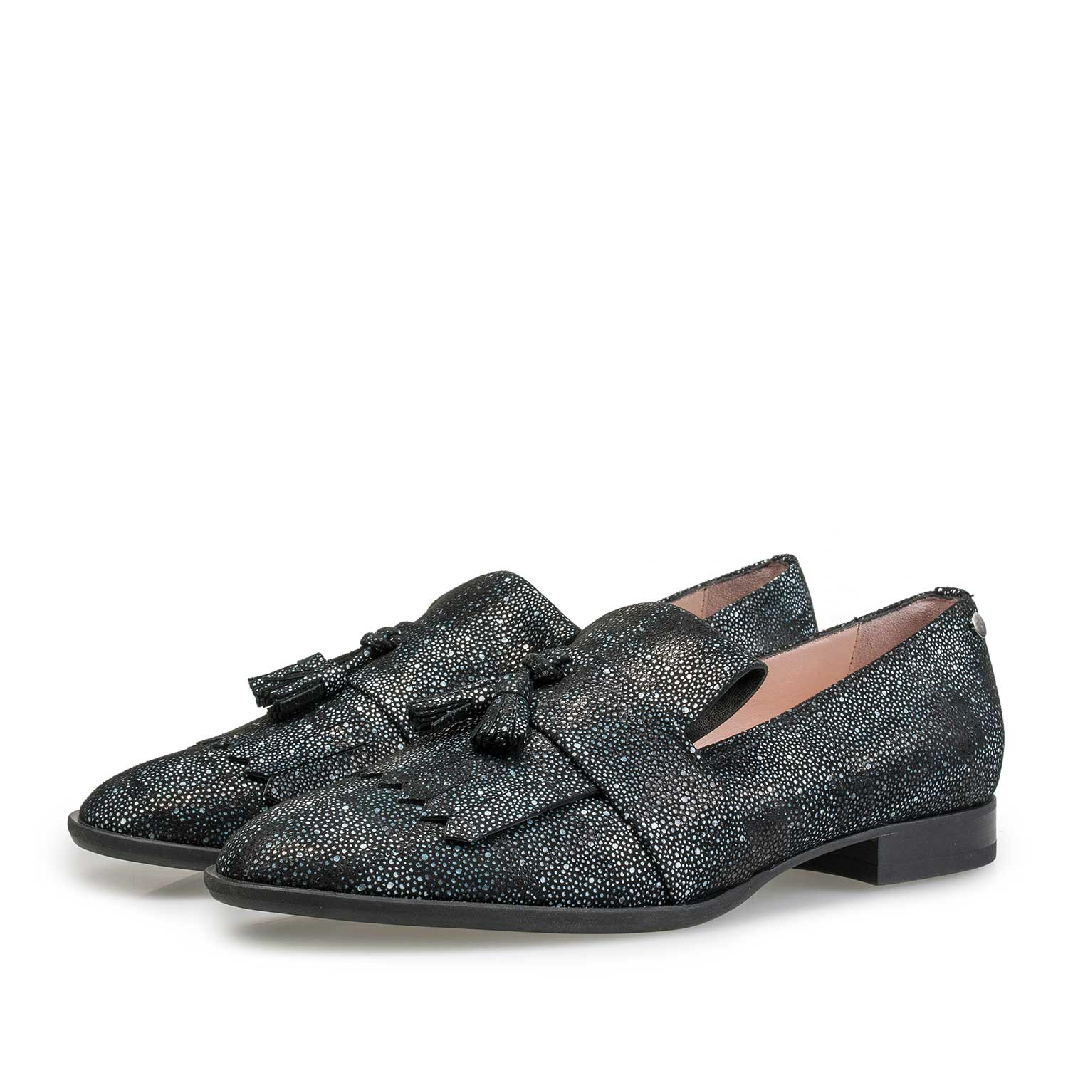 85401/00 - Black and blue leather loafer with check pattern