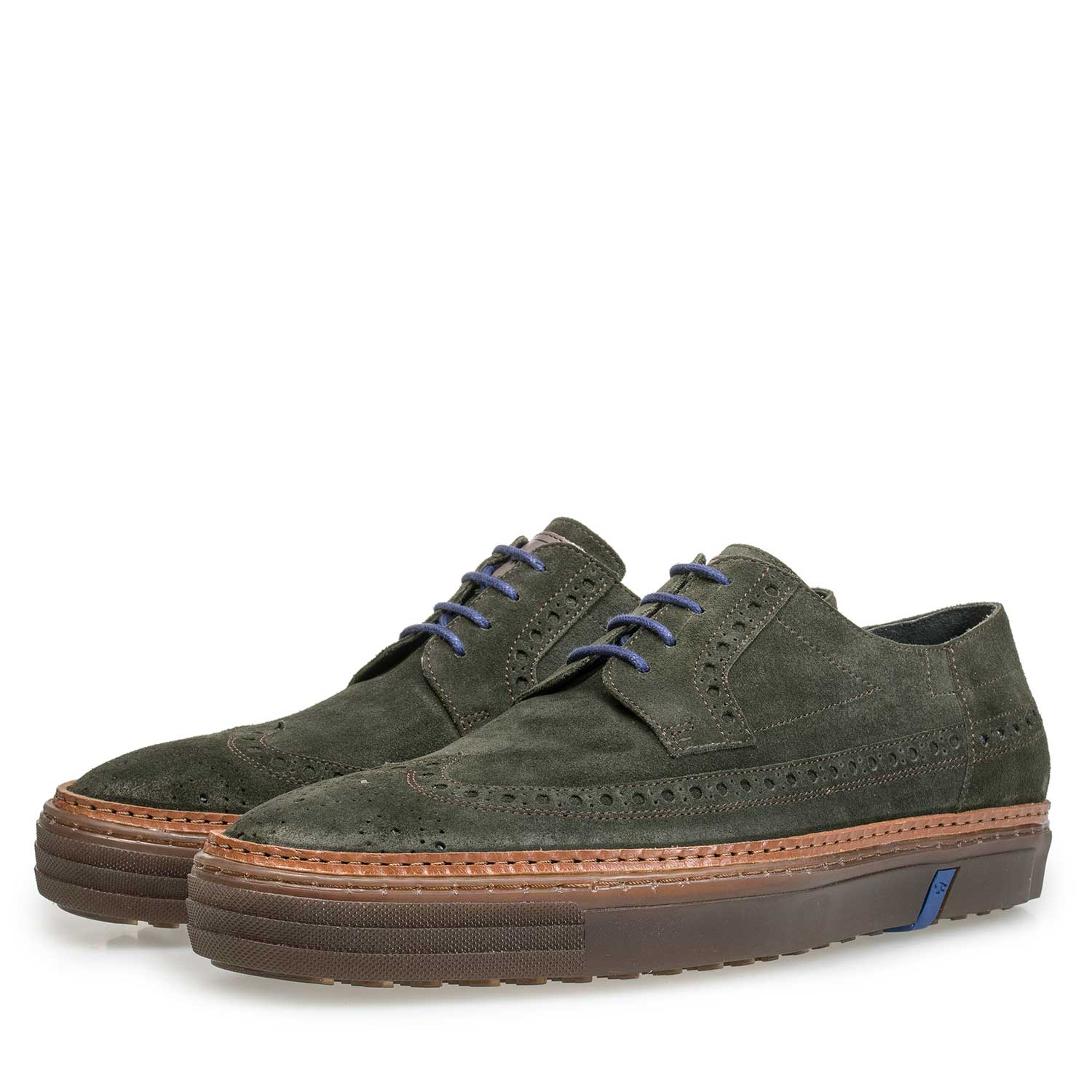 17092/02 - Green suede leather lace shoe