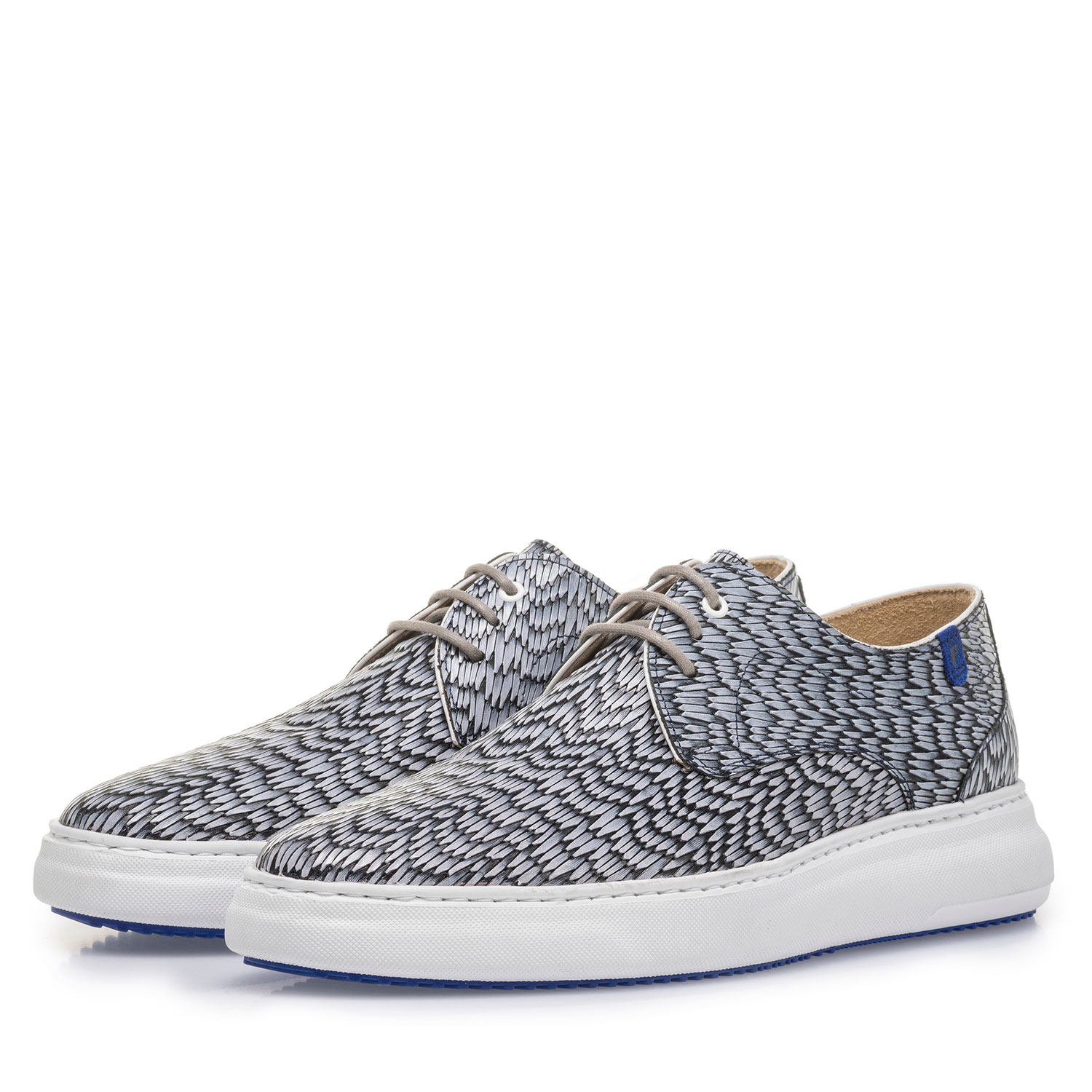 18400/10 - Grey leather lace shoe with print