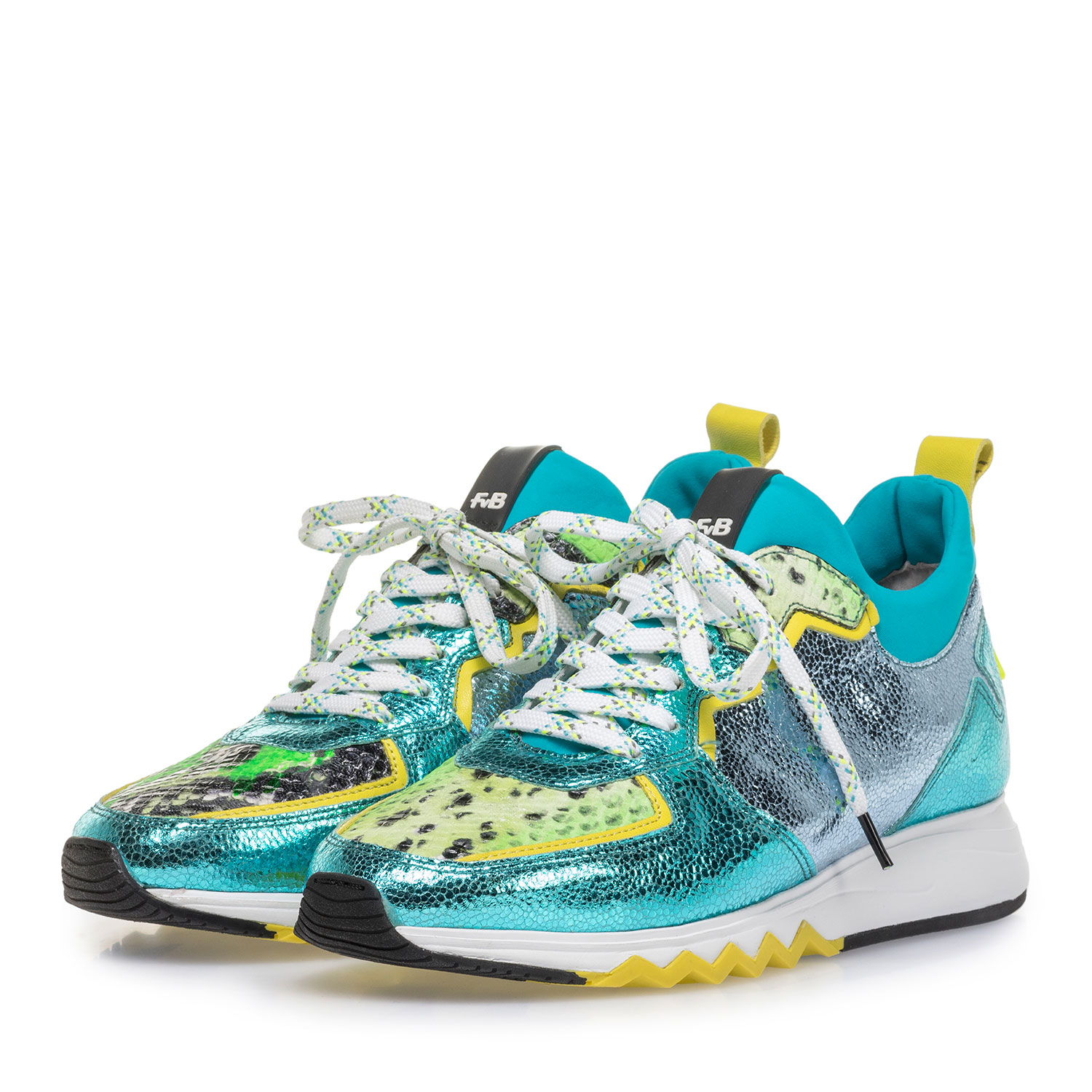 85309/08 - Sneaker with light blue metallic print
