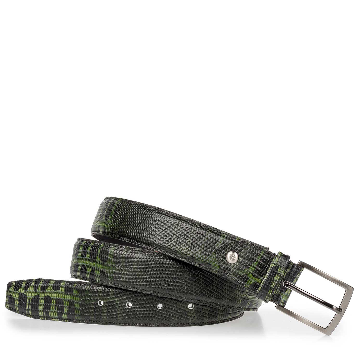 75190/30 - Belt made of green calf's leather with a lizard relief pattern