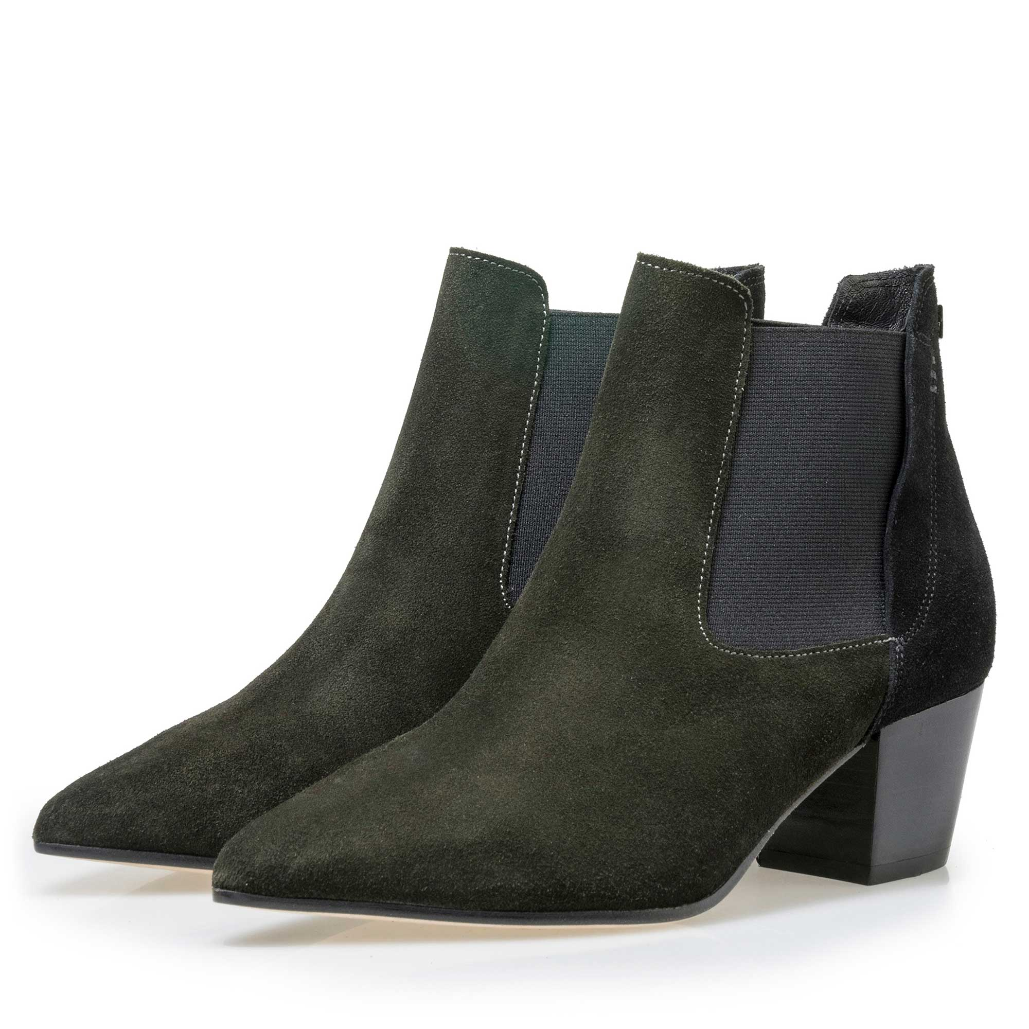 85192/01 - Floris van Bommel olive green suede leather ankle boot