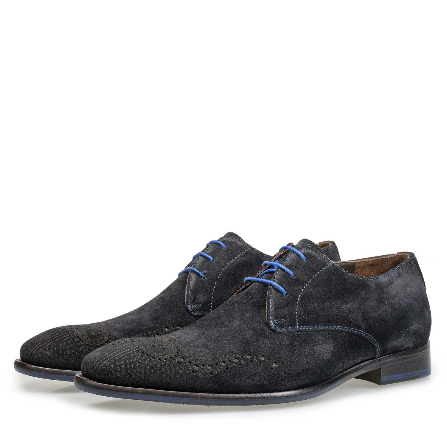 18075/06 - Blue suede leather shoe with brogue perforations