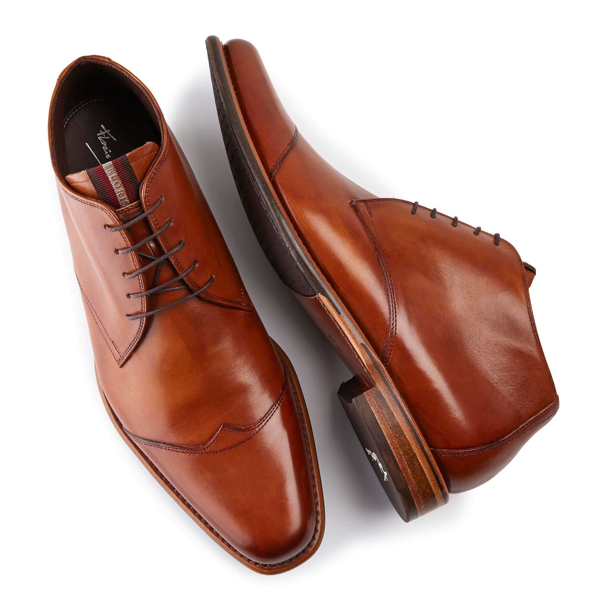 10077/11 - Cognac coloured leather half-high men's lace-up boot