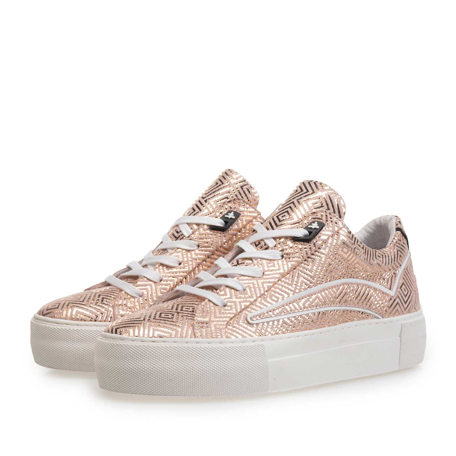 85259/01 - Rose leather sneaker with metallic print